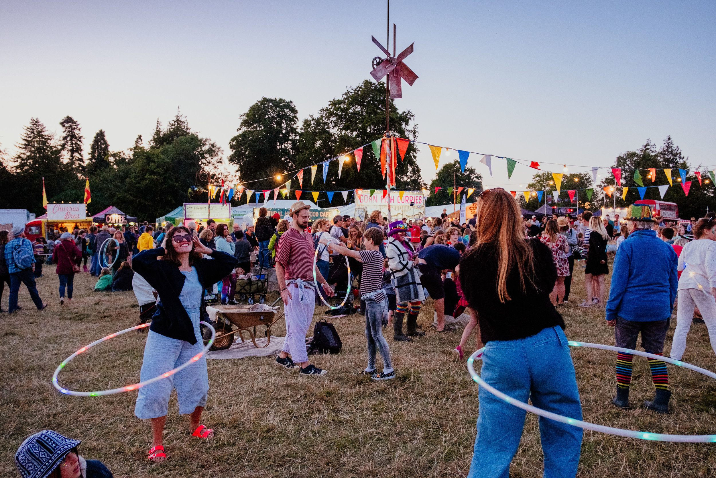 Larmer Tree Festival 2019 hula disco at sunset