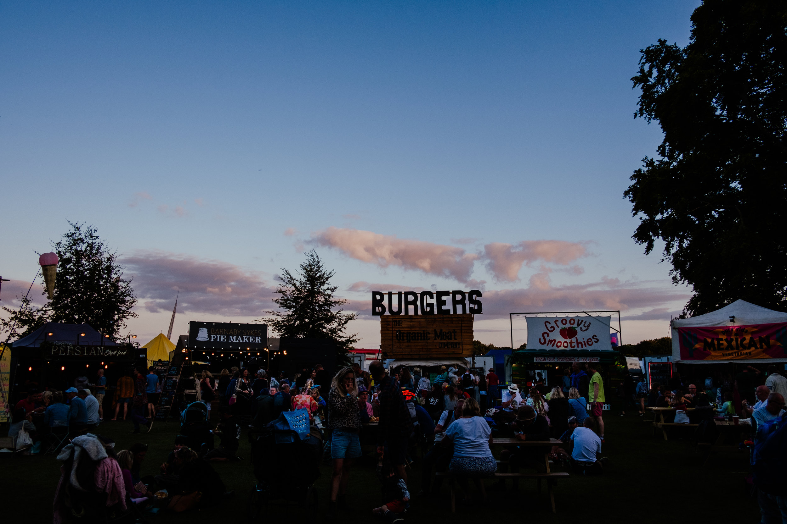 Larmer Tree Festival 2019 food stalls at night