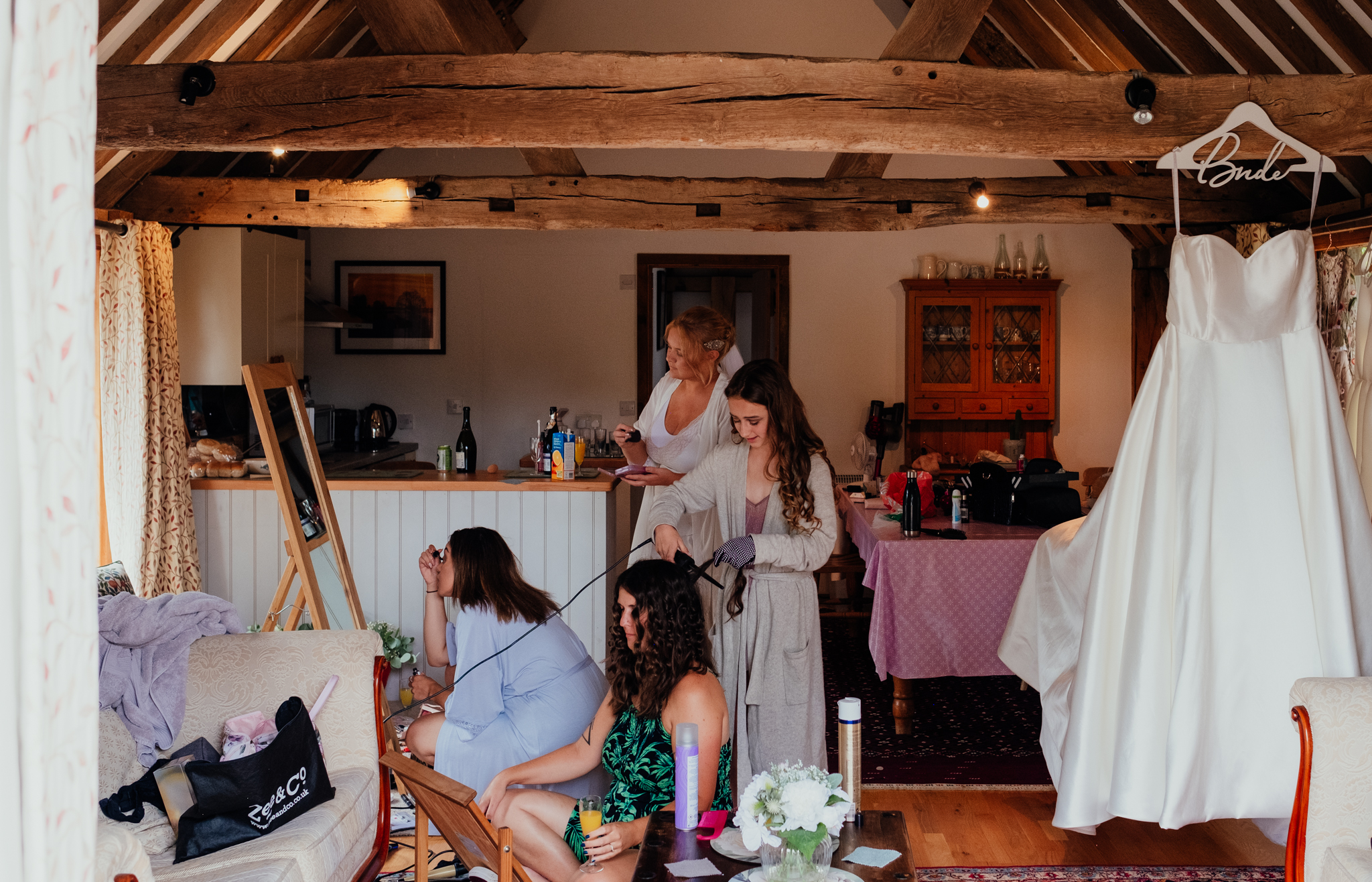 Bridal prep at Rumbolds Farm summer wedding