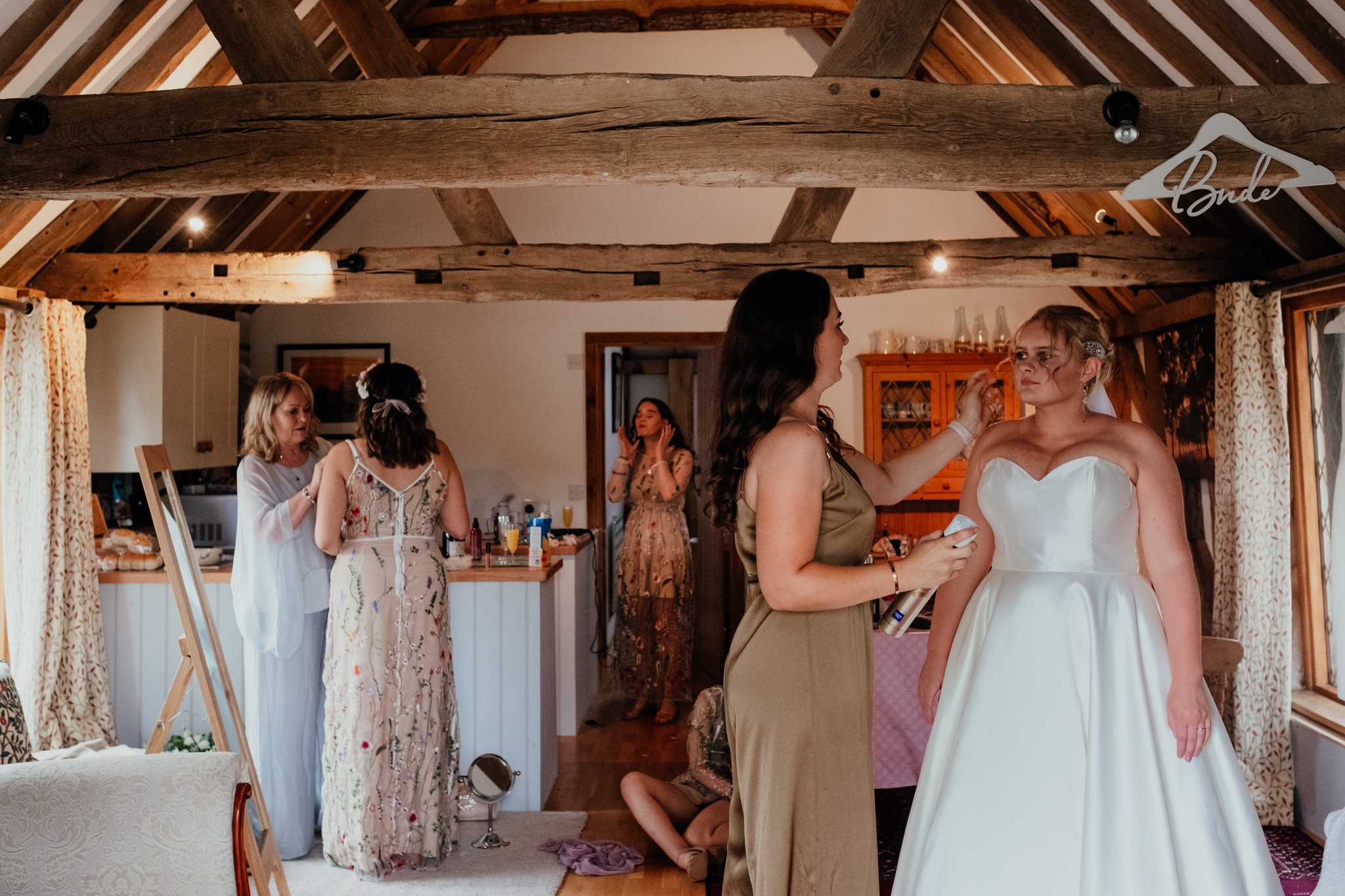 Bride getting ready at Rumbolds Farm