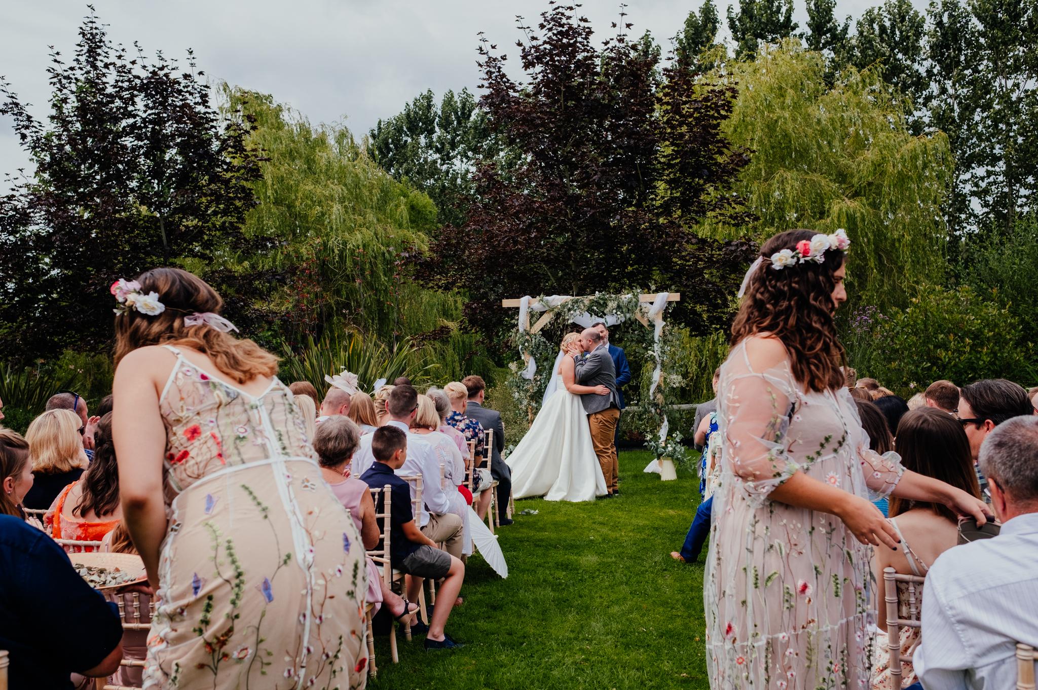 First kiss Rumbolds Farm wedding