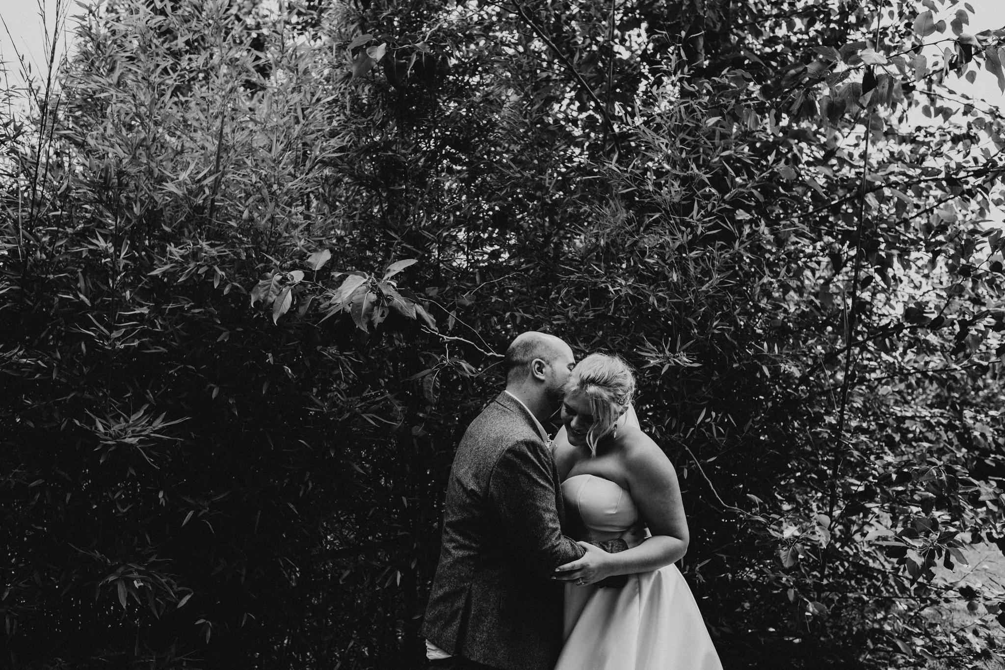 Bride and groom portrait at Rumbolds Farm wedding