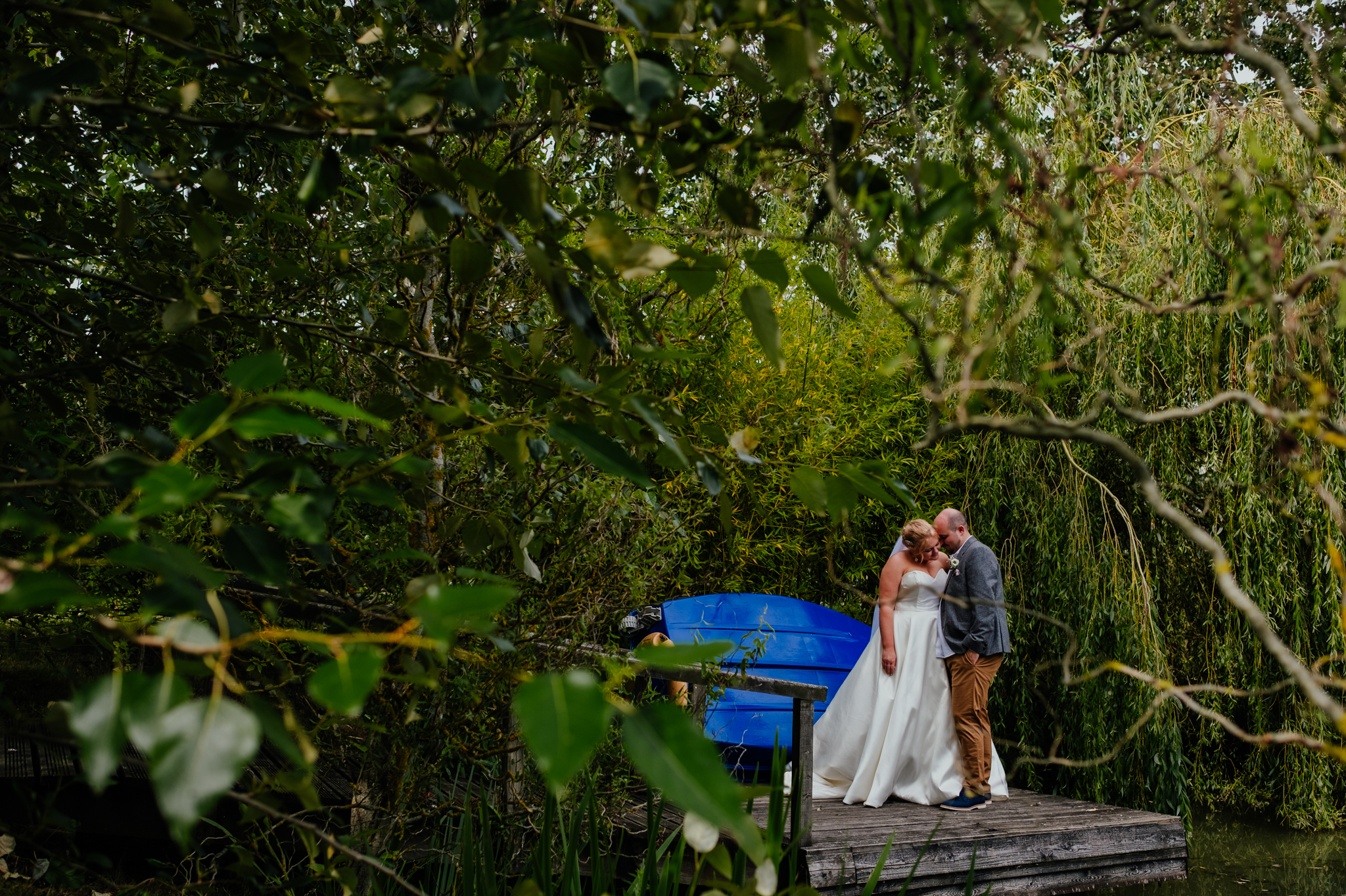 Bride and groom portrait at Rumbolds Farm summer wedding