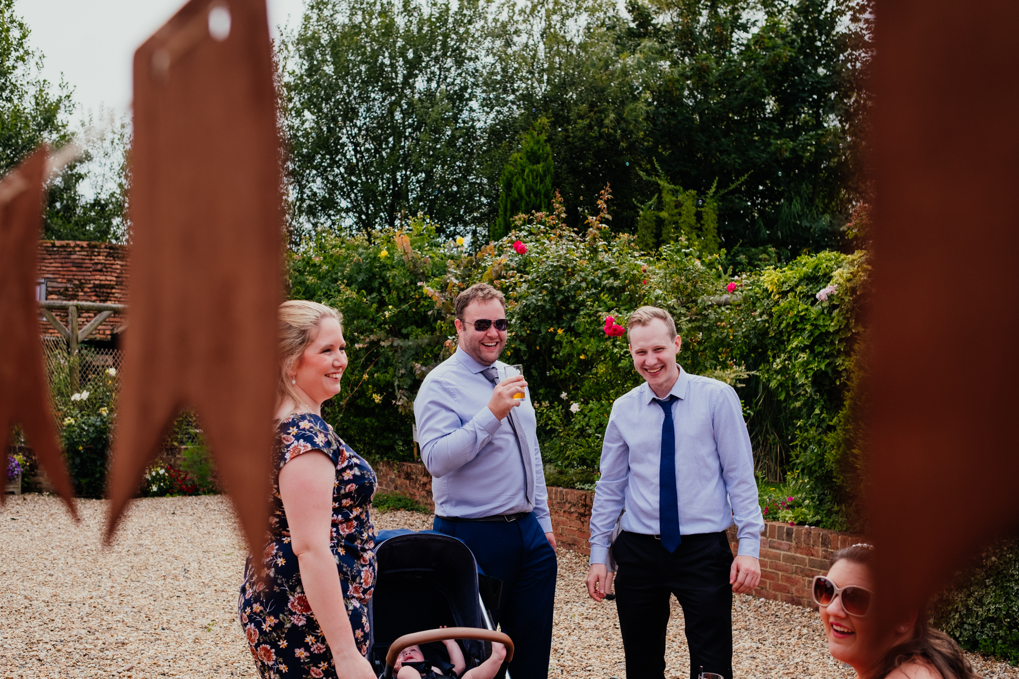 Wedding guests at Rumbolds Farm summer wedding