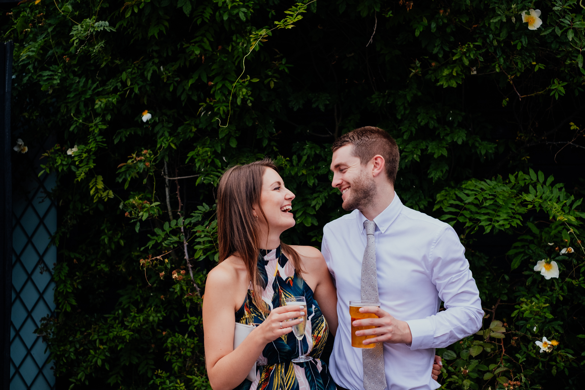 Couple laughs and smiles during wedding at Rumbolds Farm