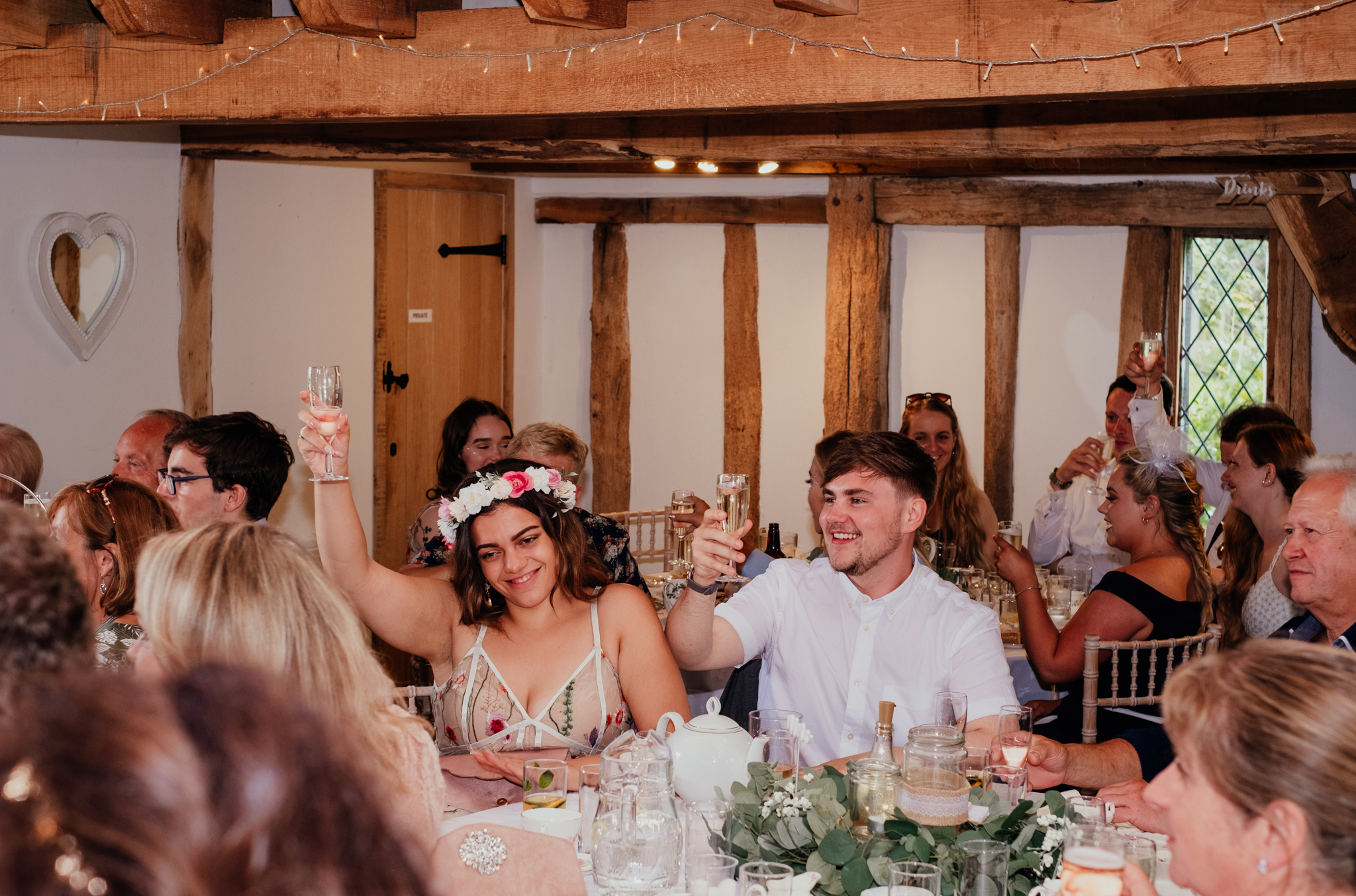 Wedding toast at Rumbolds Farm