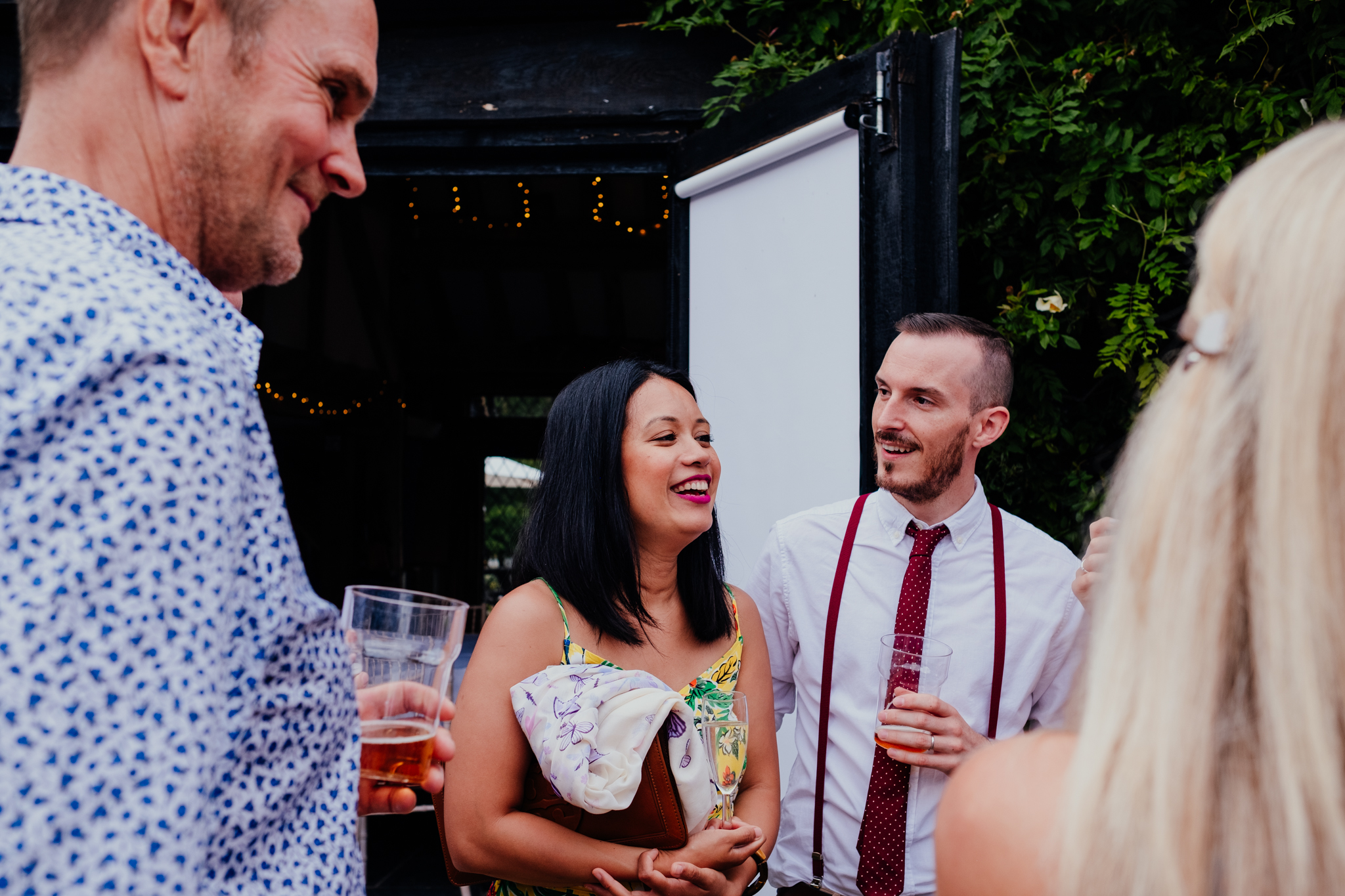 Couple laughing at Rumbolds Farm wedding