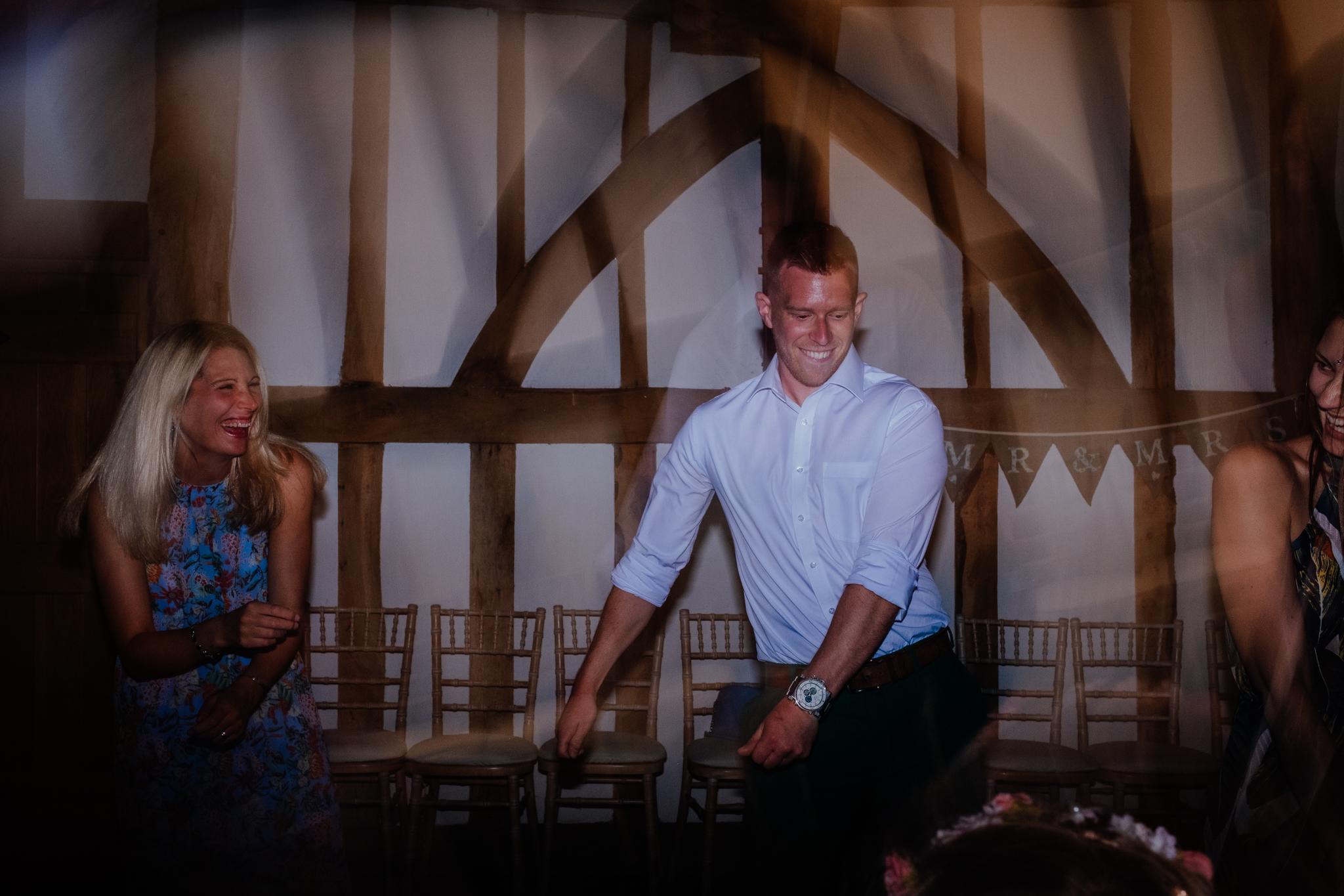 Wedding guests dancing at Rumbolds Farm