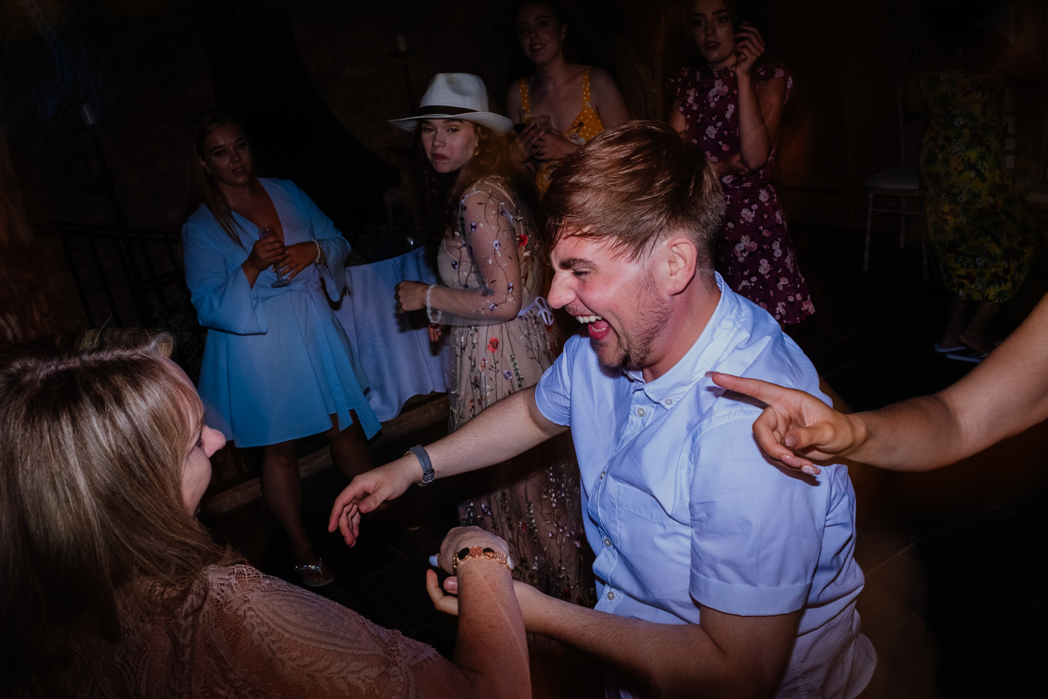 Guests dancing at Rumbolds Farm wedding