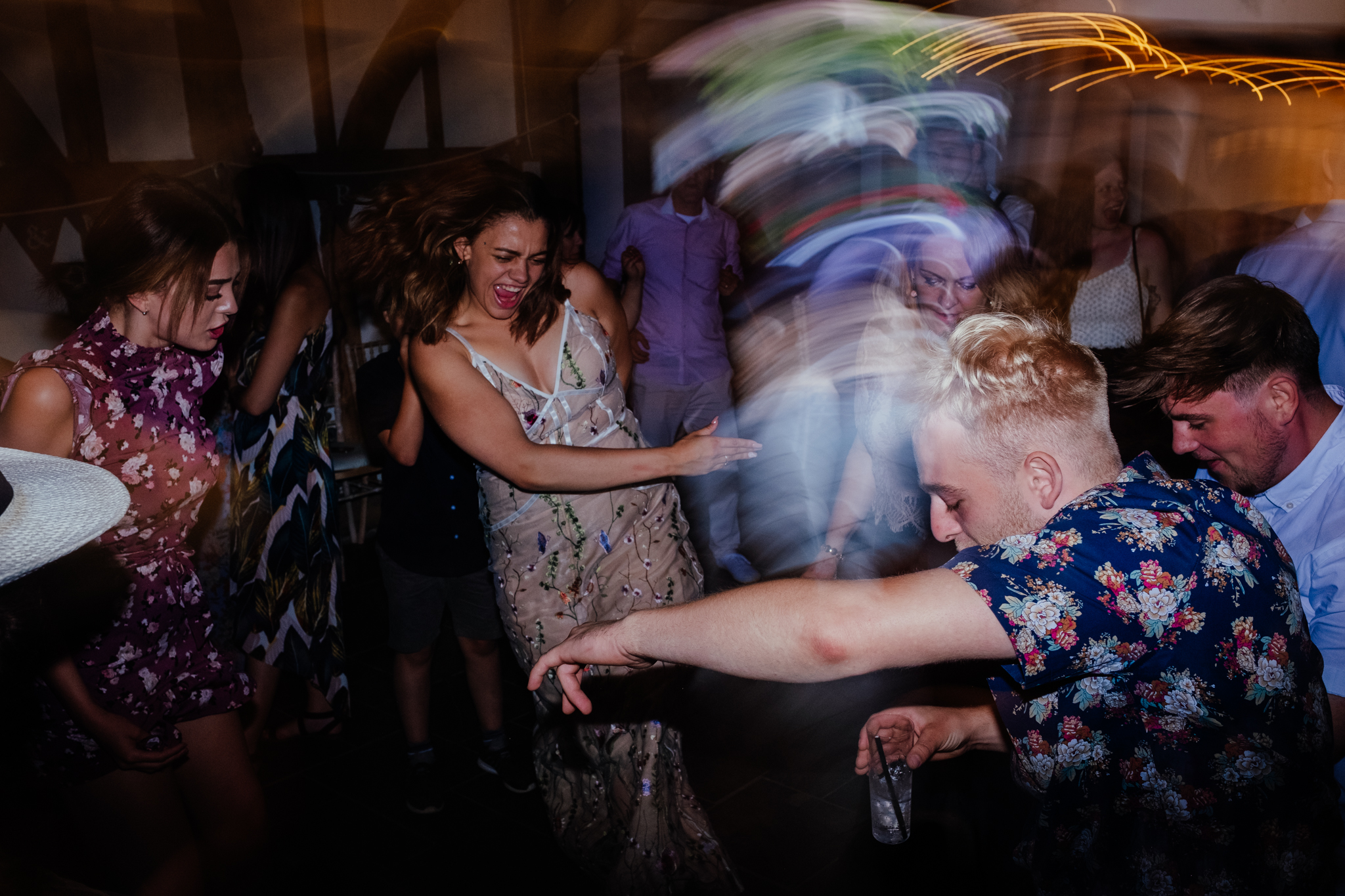 Fun dancing at Rumbolds Farm wedding