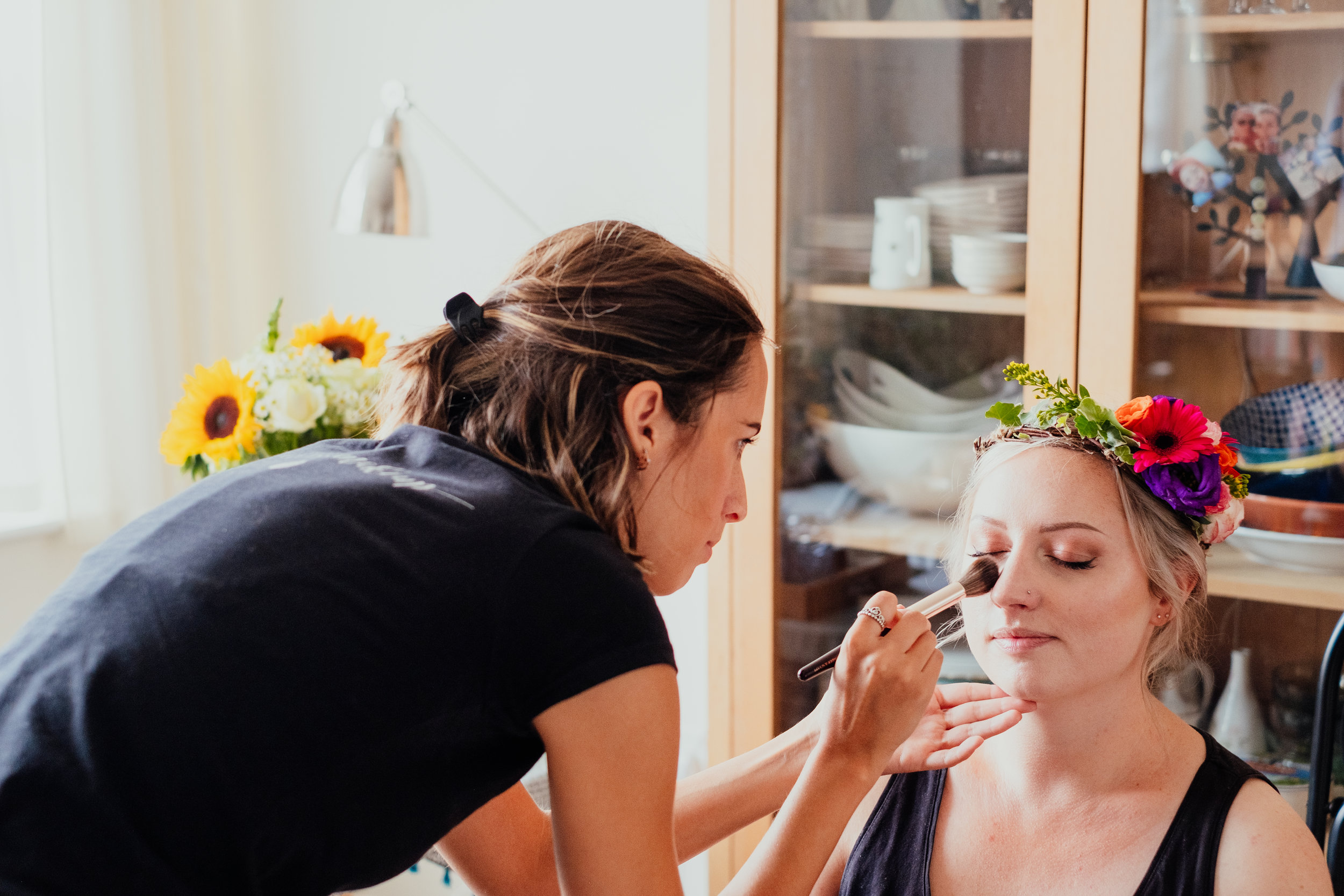 Vegan and cruelty free make up artist Tia Bliss applies vegan make up to boho bride