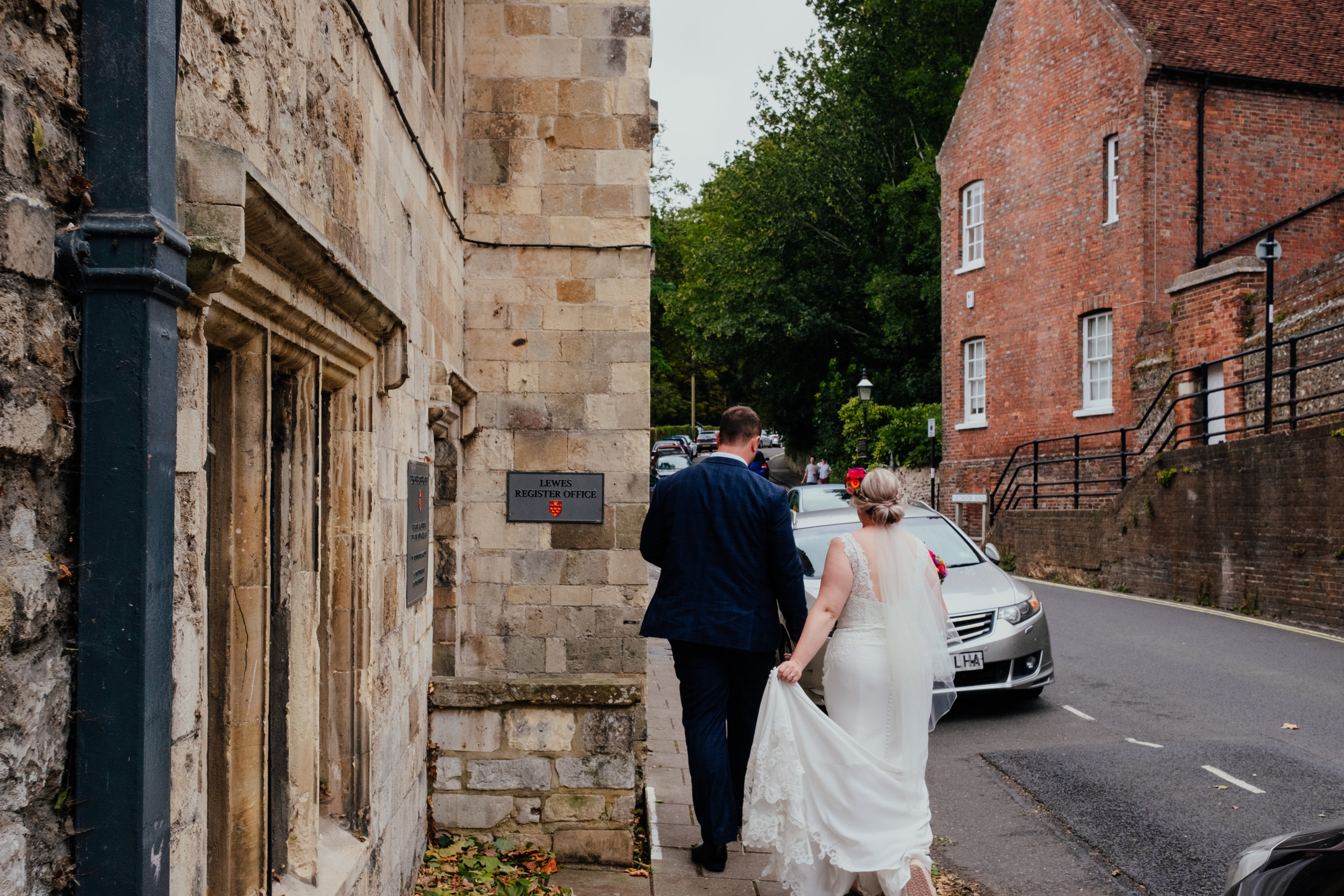 Bride and Groom just married at Lewes Registry Office