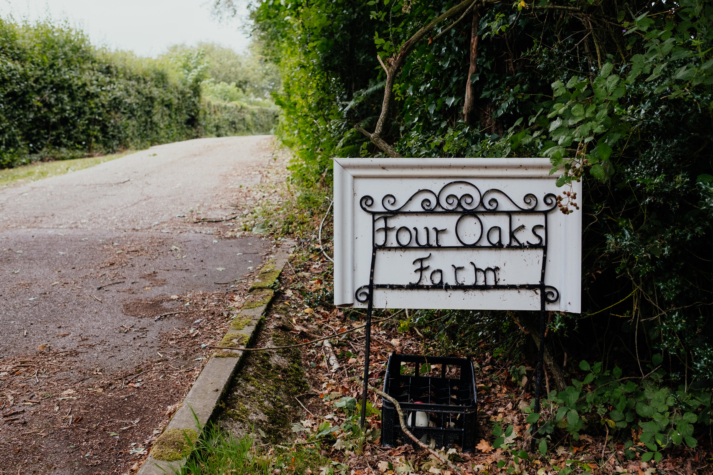 Four Oaks wedding sign