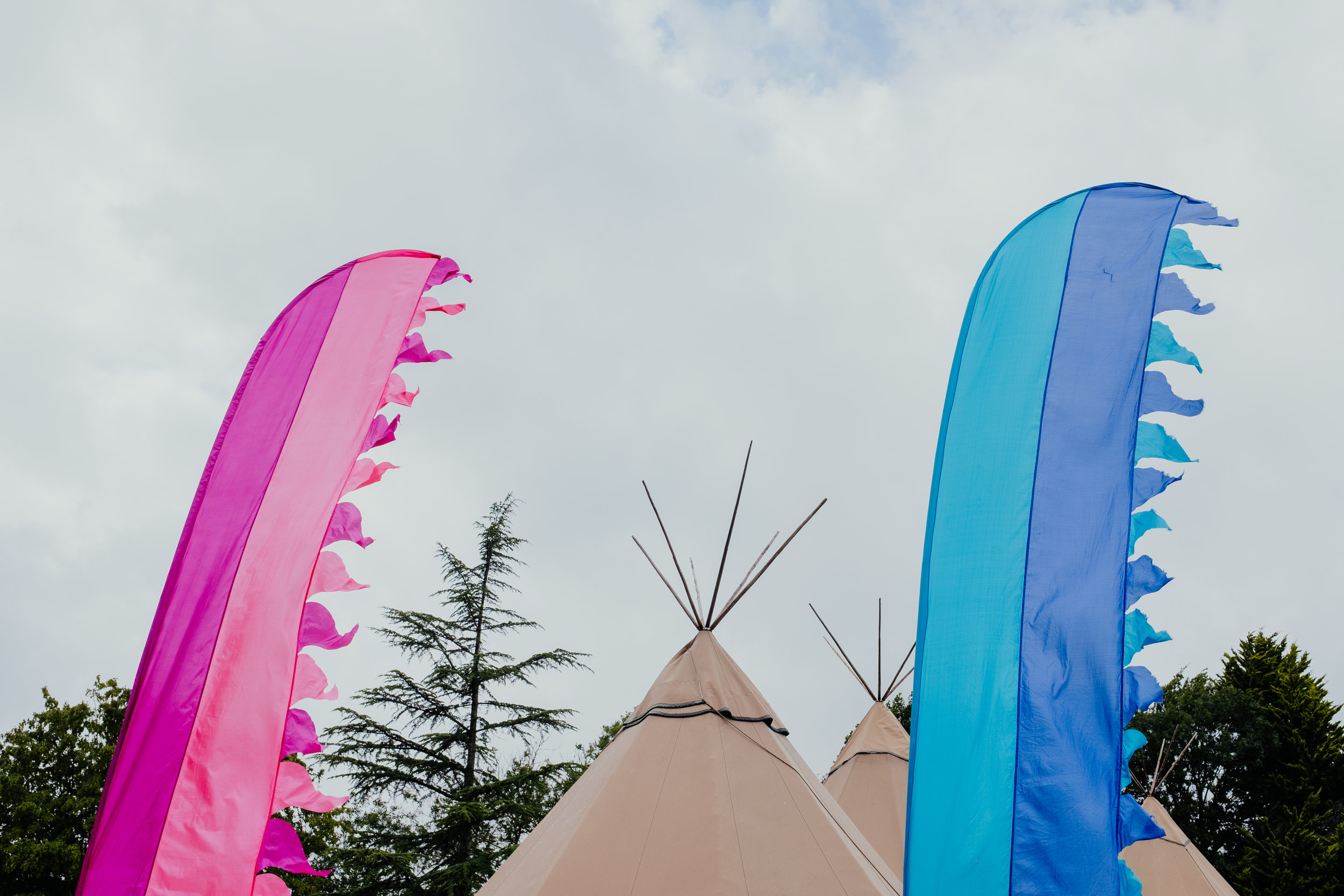 Tipi and decorations at Four Oaks wedding