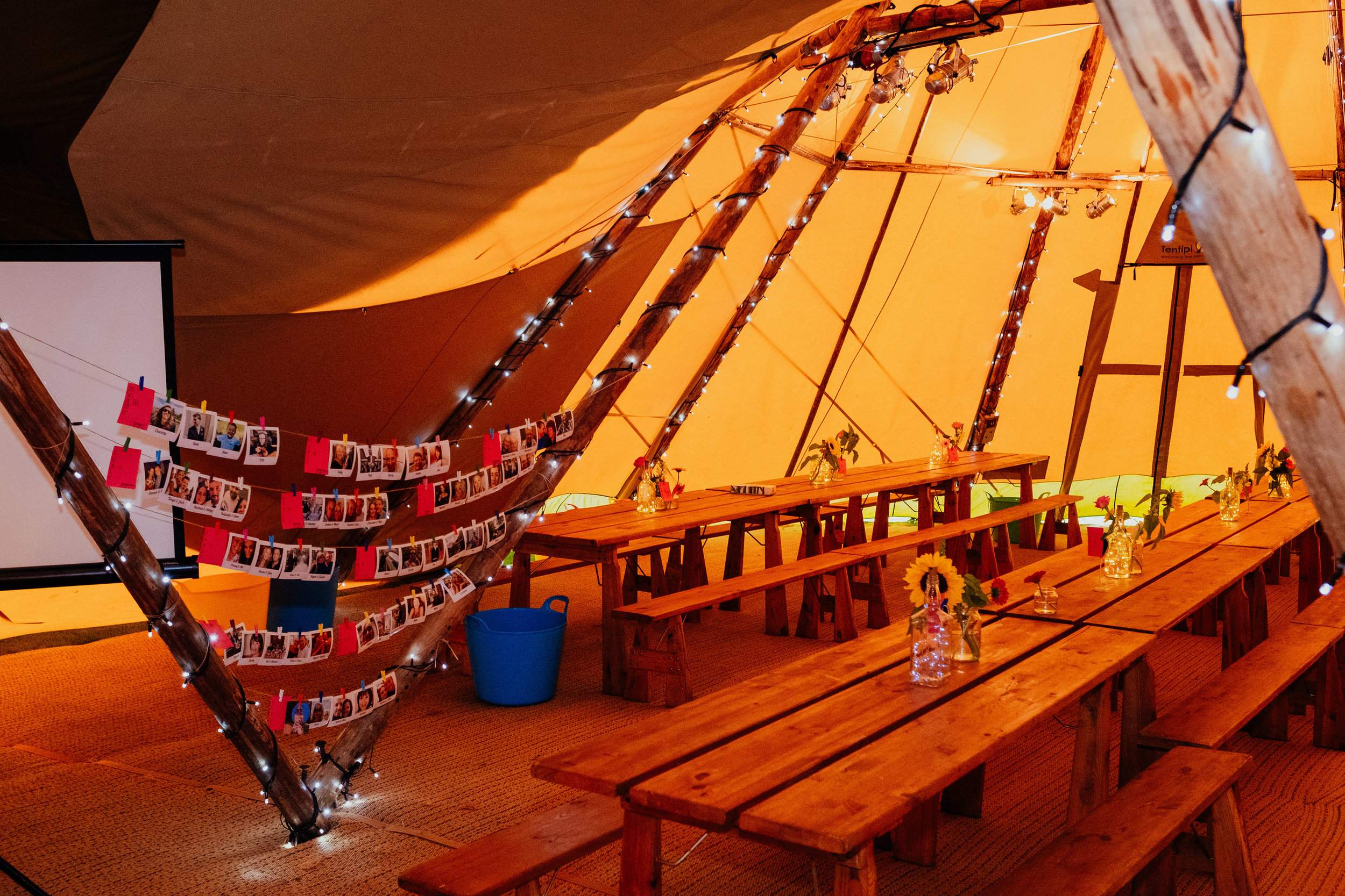 Boho vegan wedding inside tipi