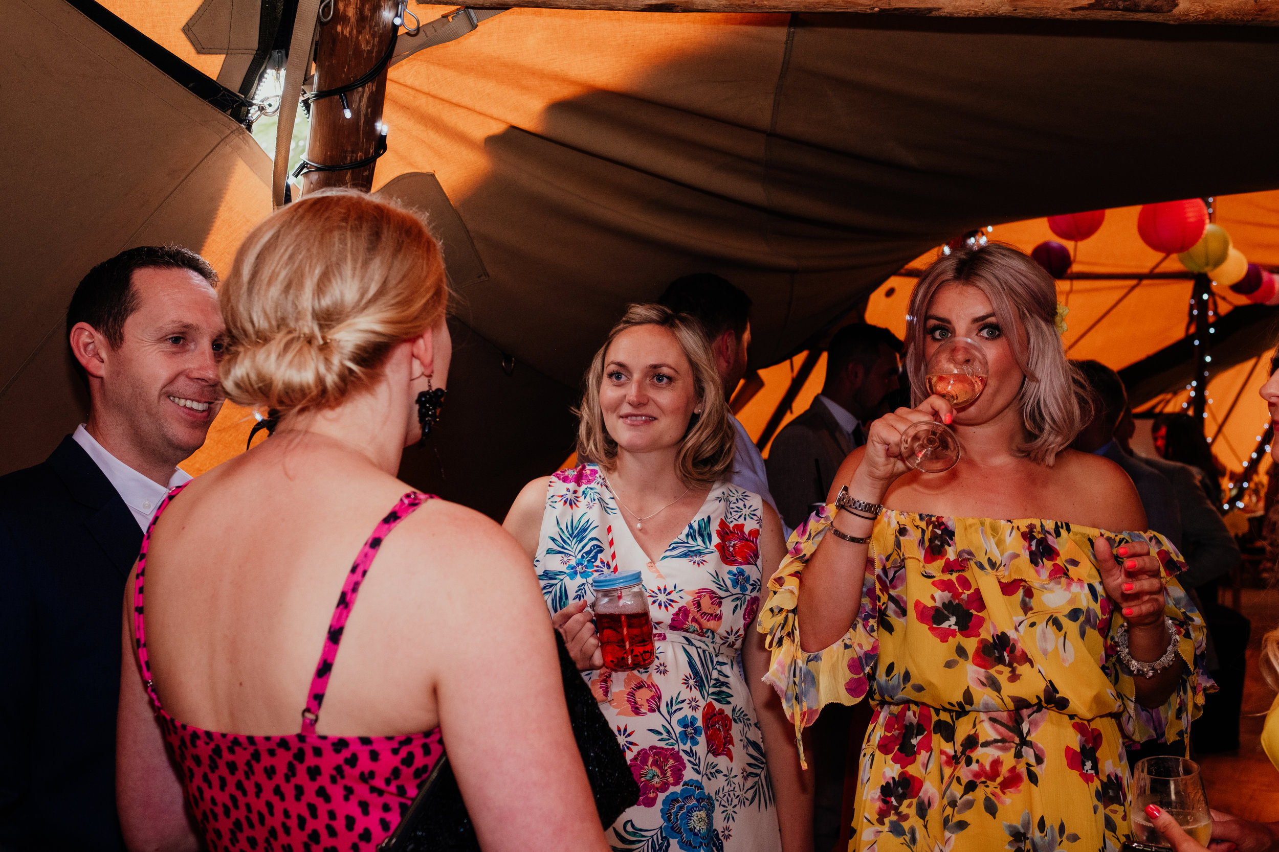 Wedding guests drinking wine