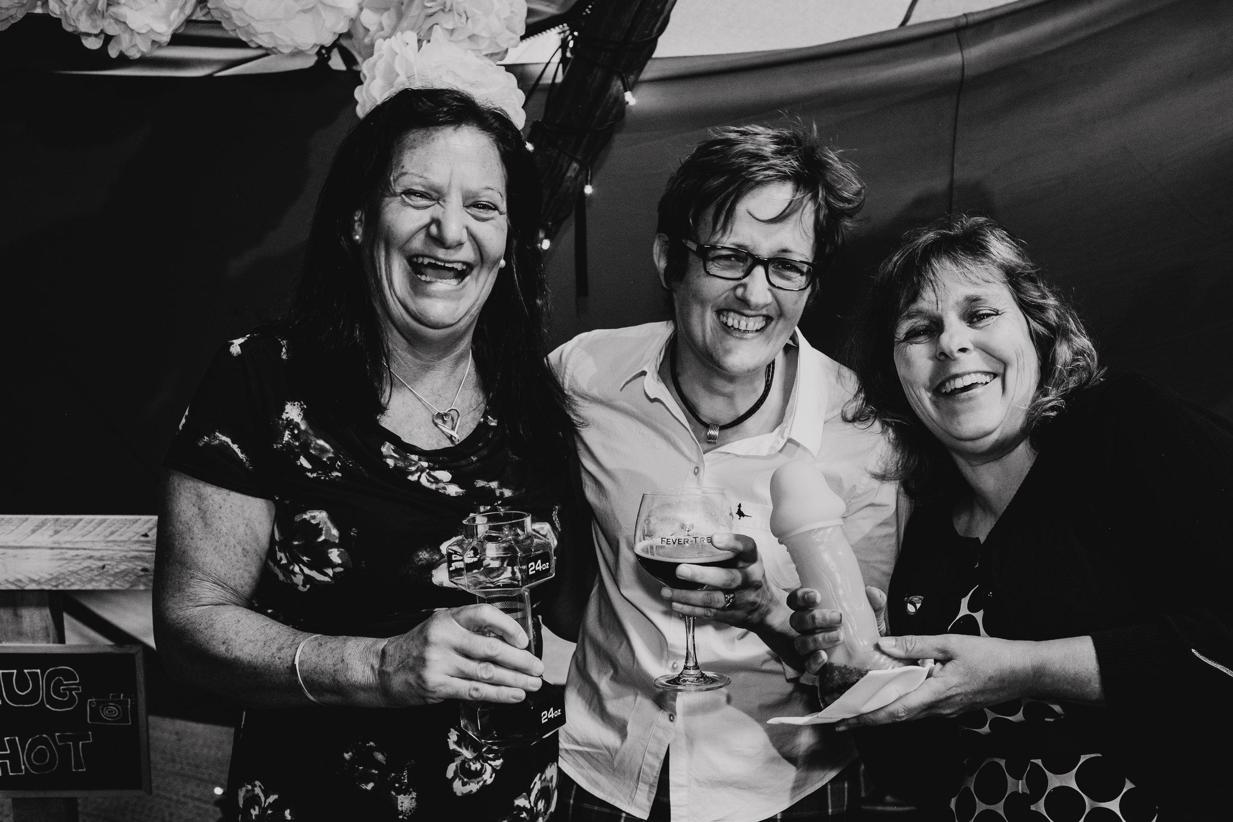 Smiling wedding guests at vegan wedding