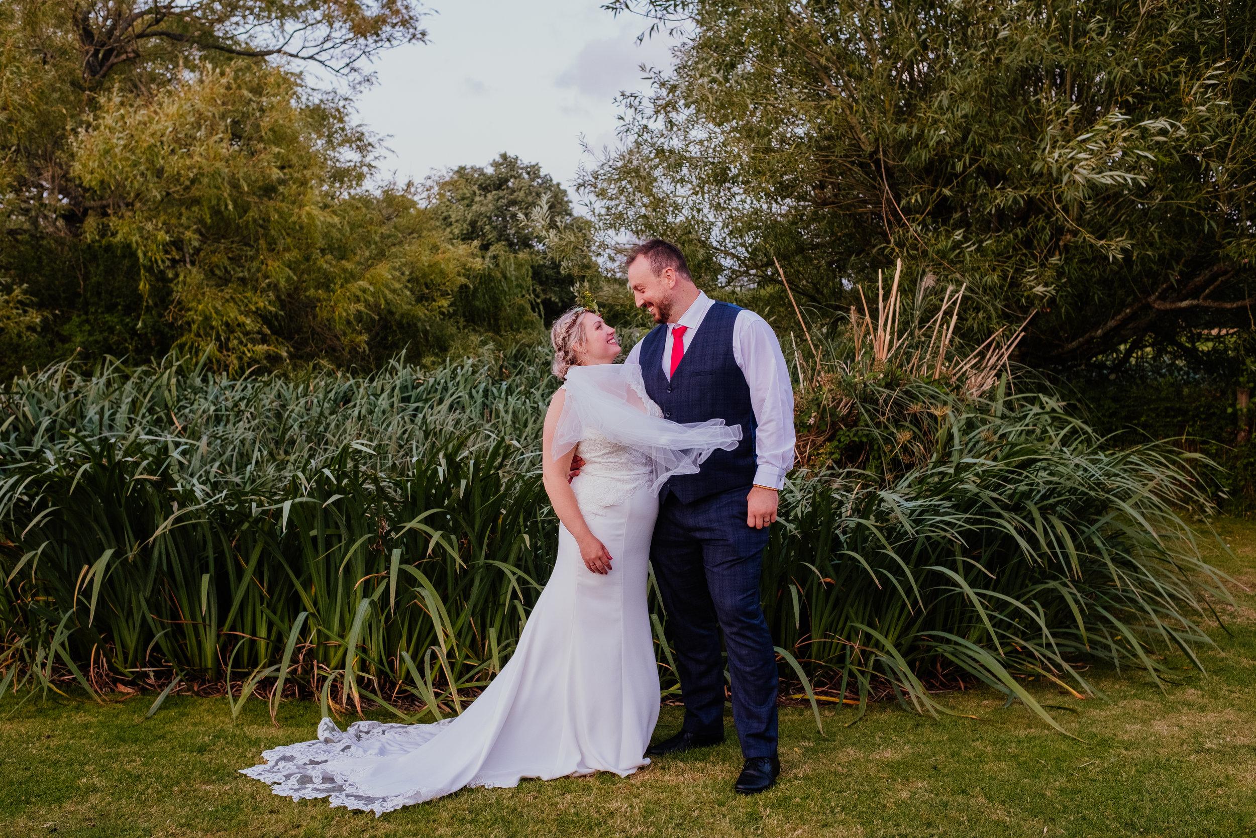 Vegan bride and groom at Four Oaks Farm tipi wedding