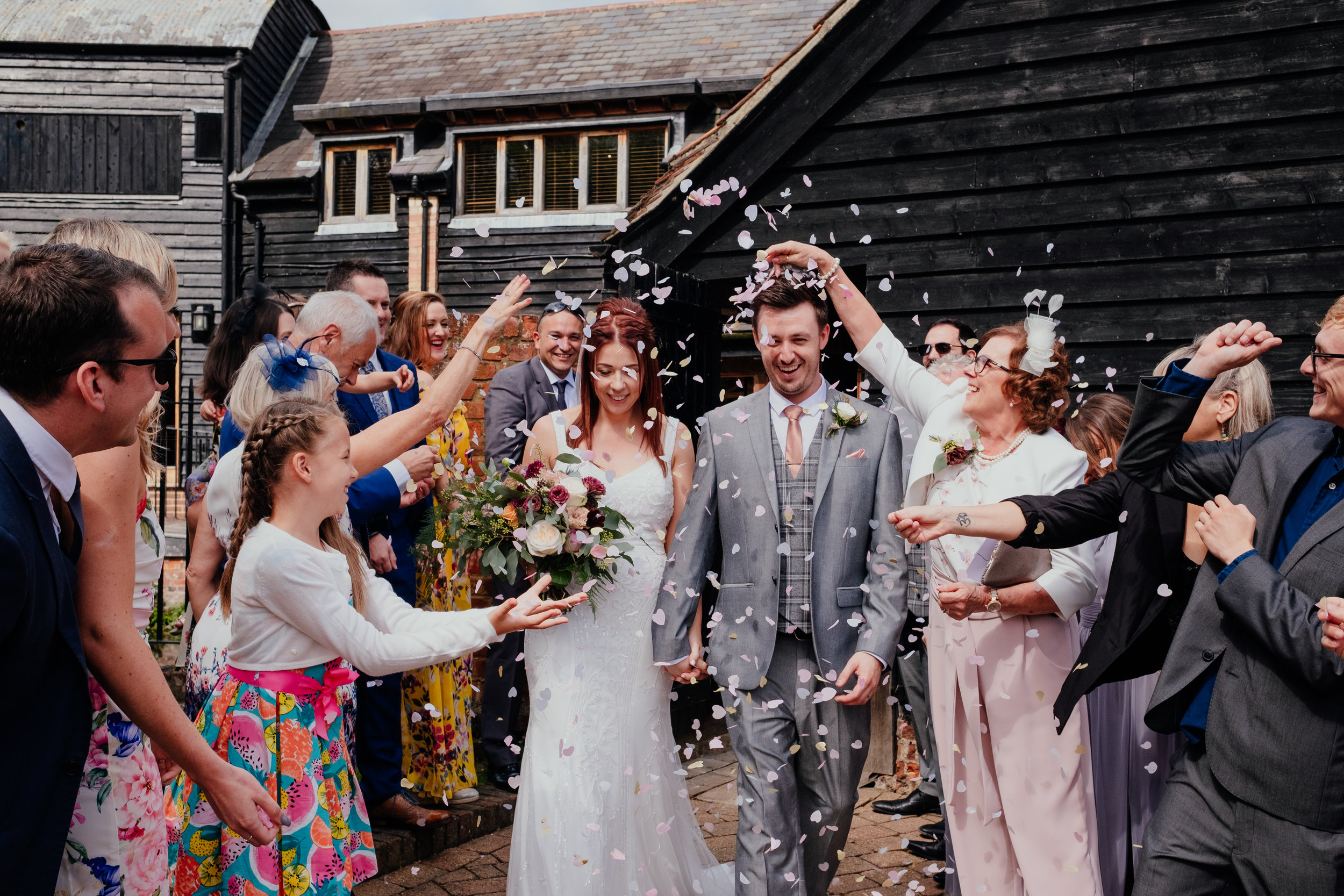 confetti at Tewin Bury Farm wedding