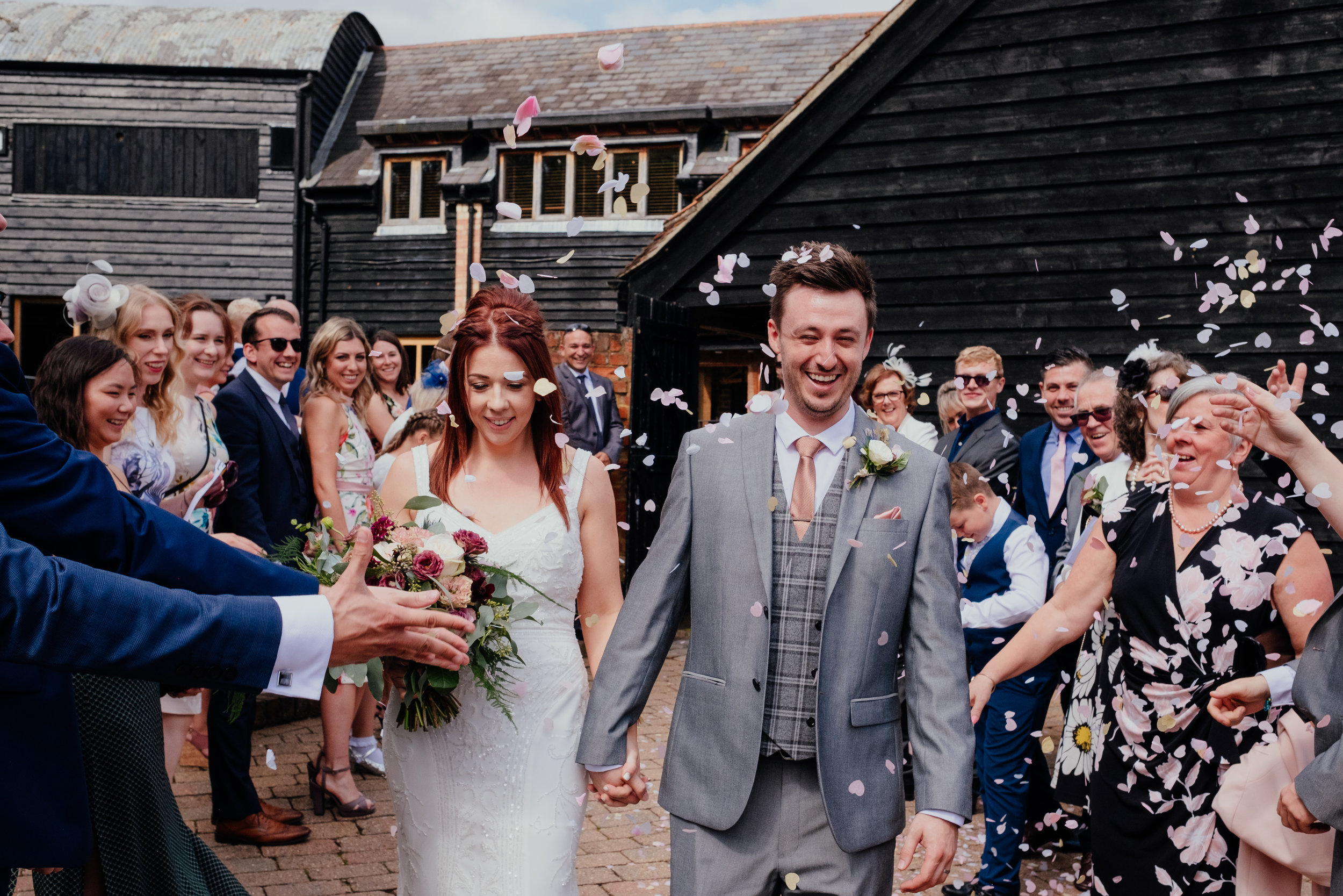 biodegradable confetti at Tewin Bury Farm wedding