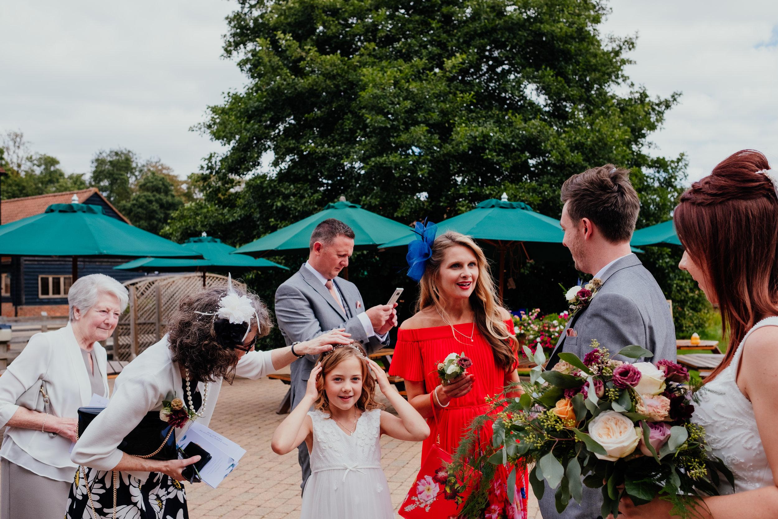 Wedding guests at Tewin Bury Farm