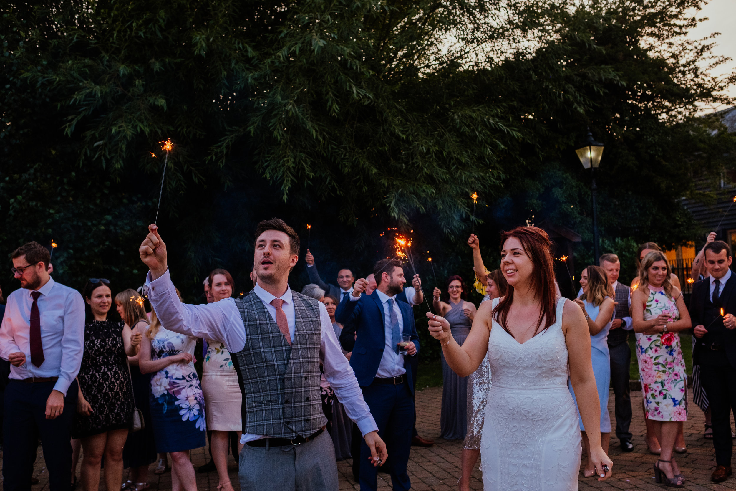 Sparklers at Tewin Bury Farm wedding