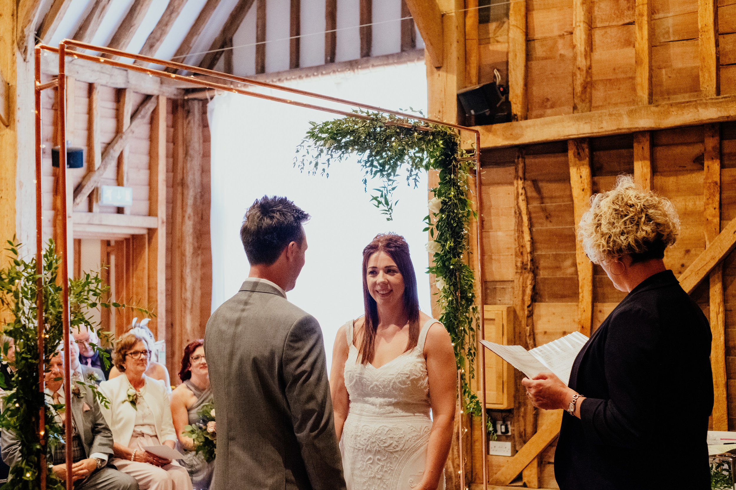 Wedding ceremony at Tewin Bury Farm