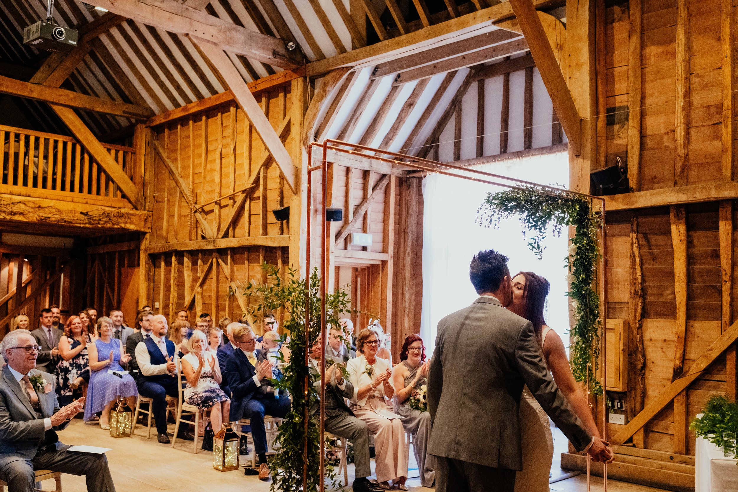 First kiss at Tewin Bury Farm wedding