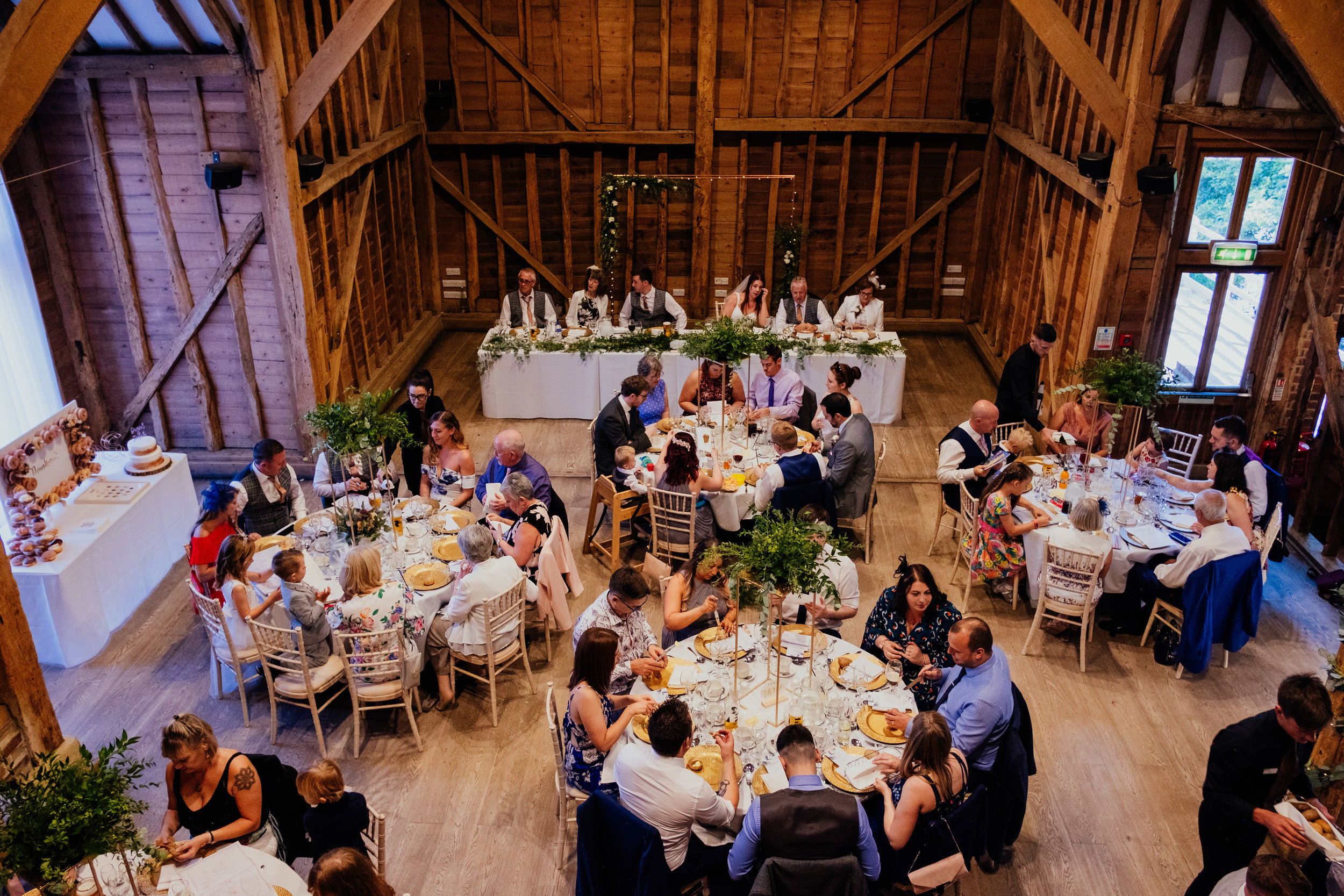 Wedding reception in the Tythe Barn at Tewin Bury Farm