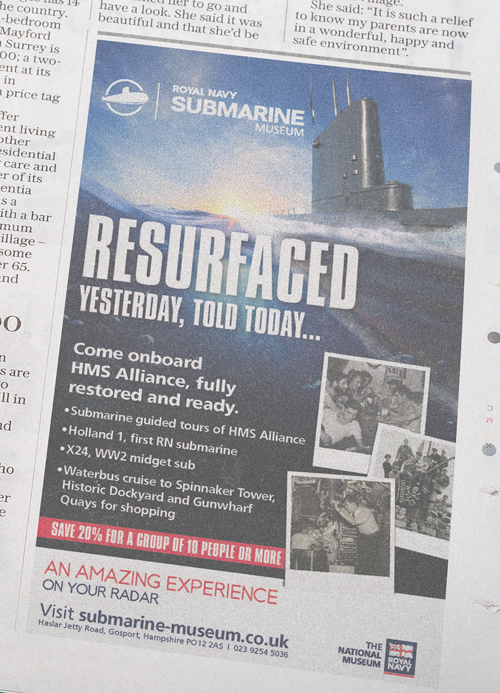 The Royal Navy Submarine Museum Press Advert