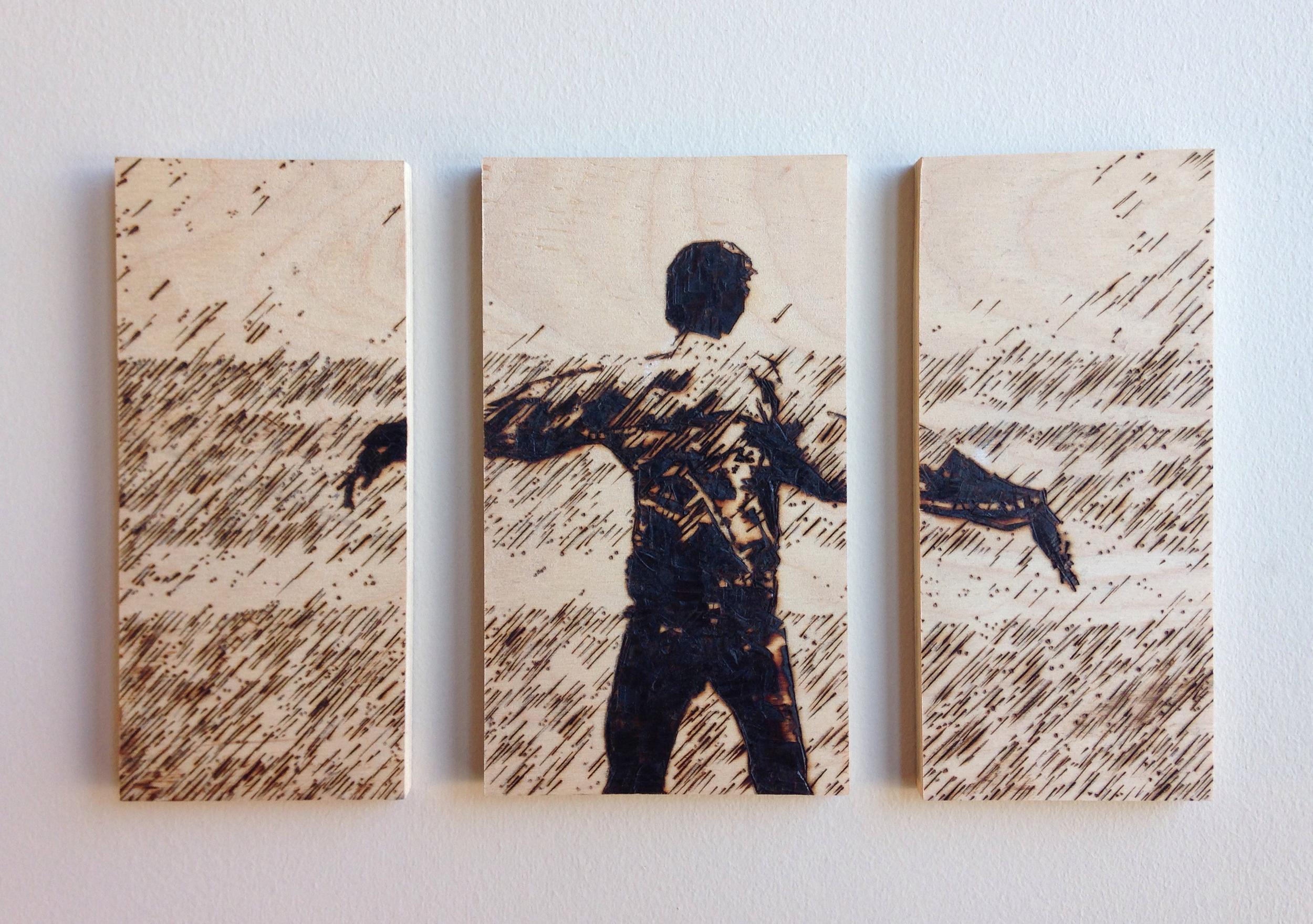 """Untitled   –   10.5 """"x6.5"""" pyrographic burning on plywood."""