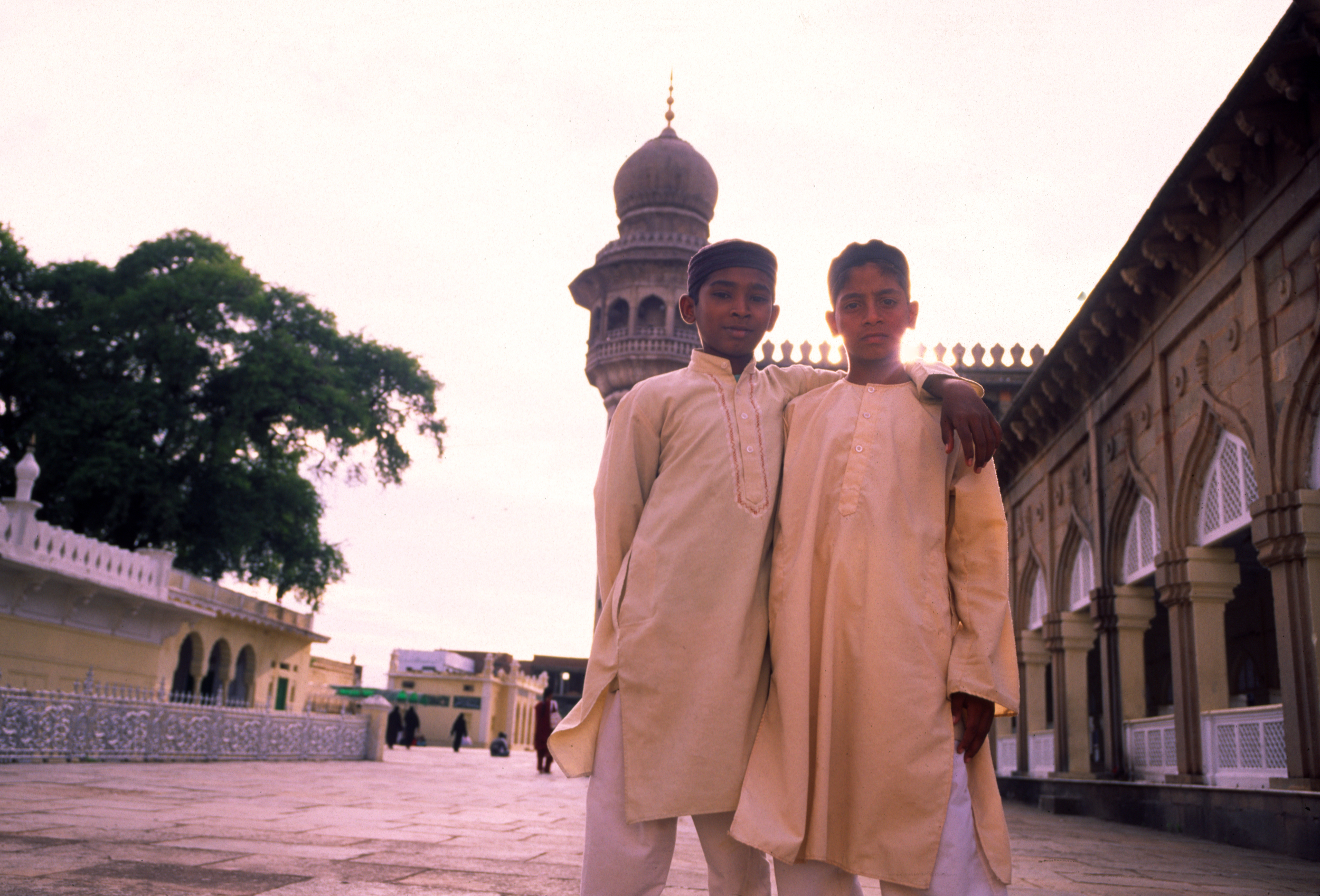 Boys outside the Mecca Mosque in Hyderabad, India in 2006.