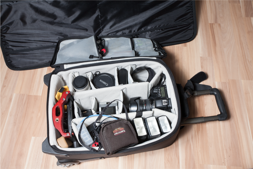 Mise en place  on location: one of our standard gear bags