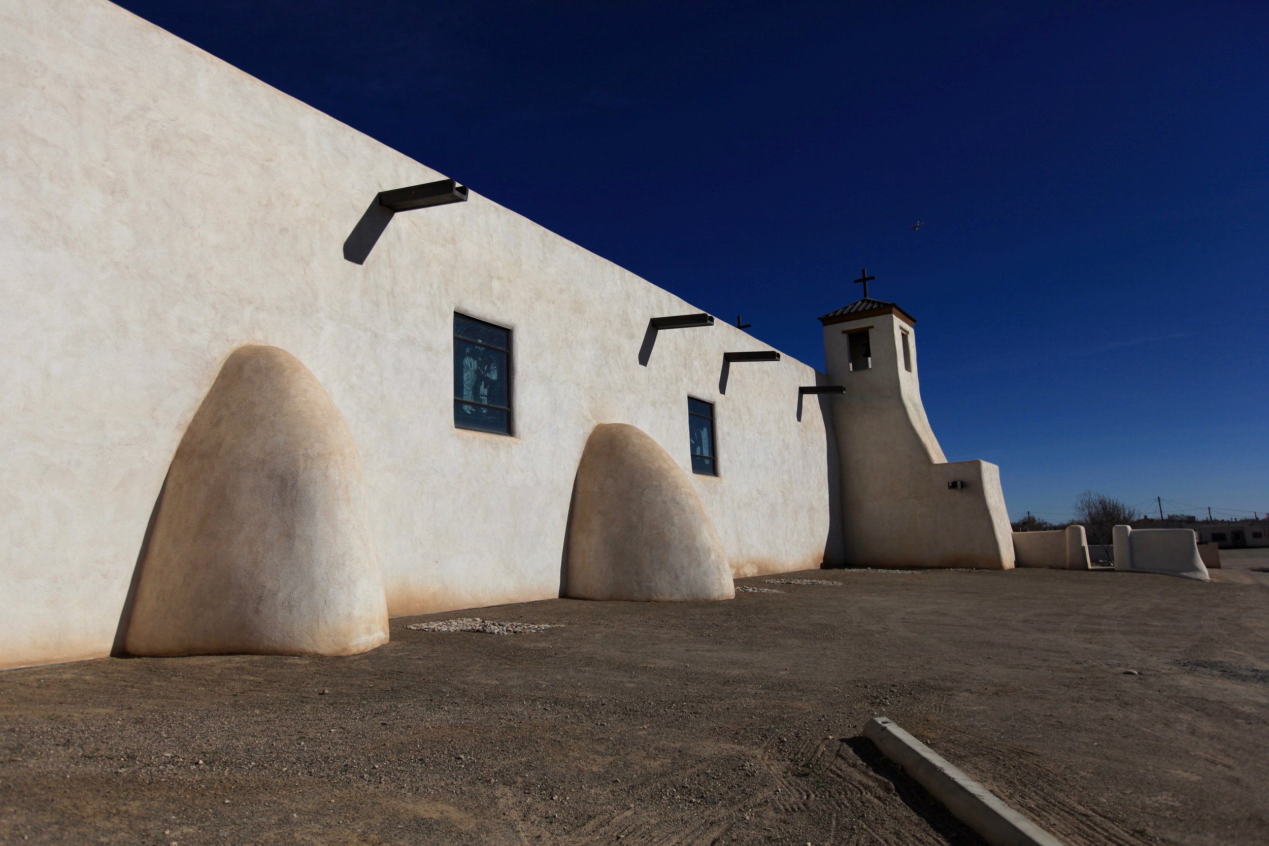 St. Augustine's Mission Church, Isleta Pueblo, rebuilt in 1716 on an earlier foundation.