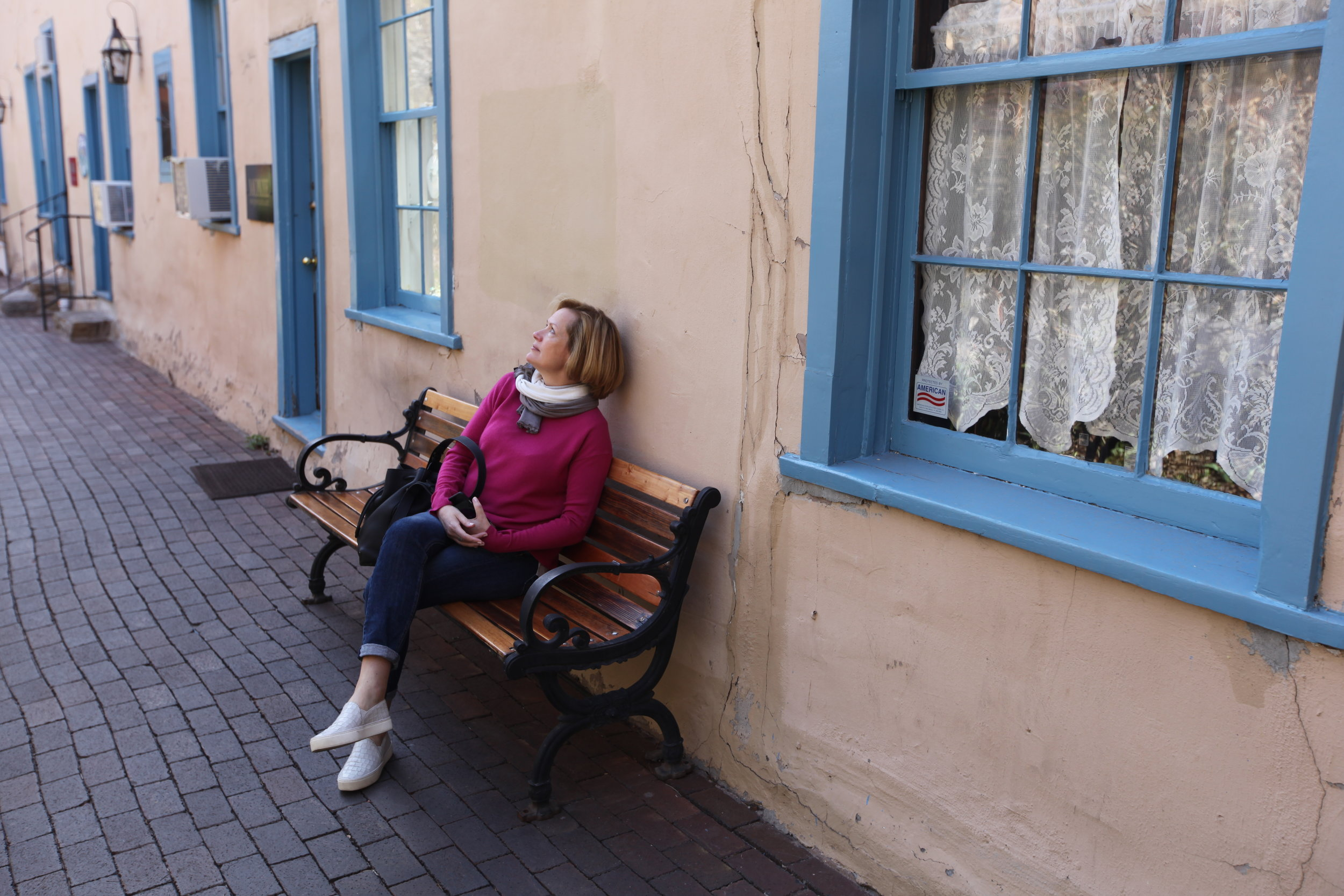 Louise on our 'bookpacking' adventure in Santa Fe.
