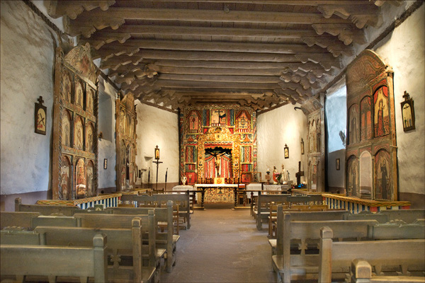 The interior of the Sanctuary Church.  Photos aren't allowed, so this image is from their website - c. www.elsantuariodechimayo.us
