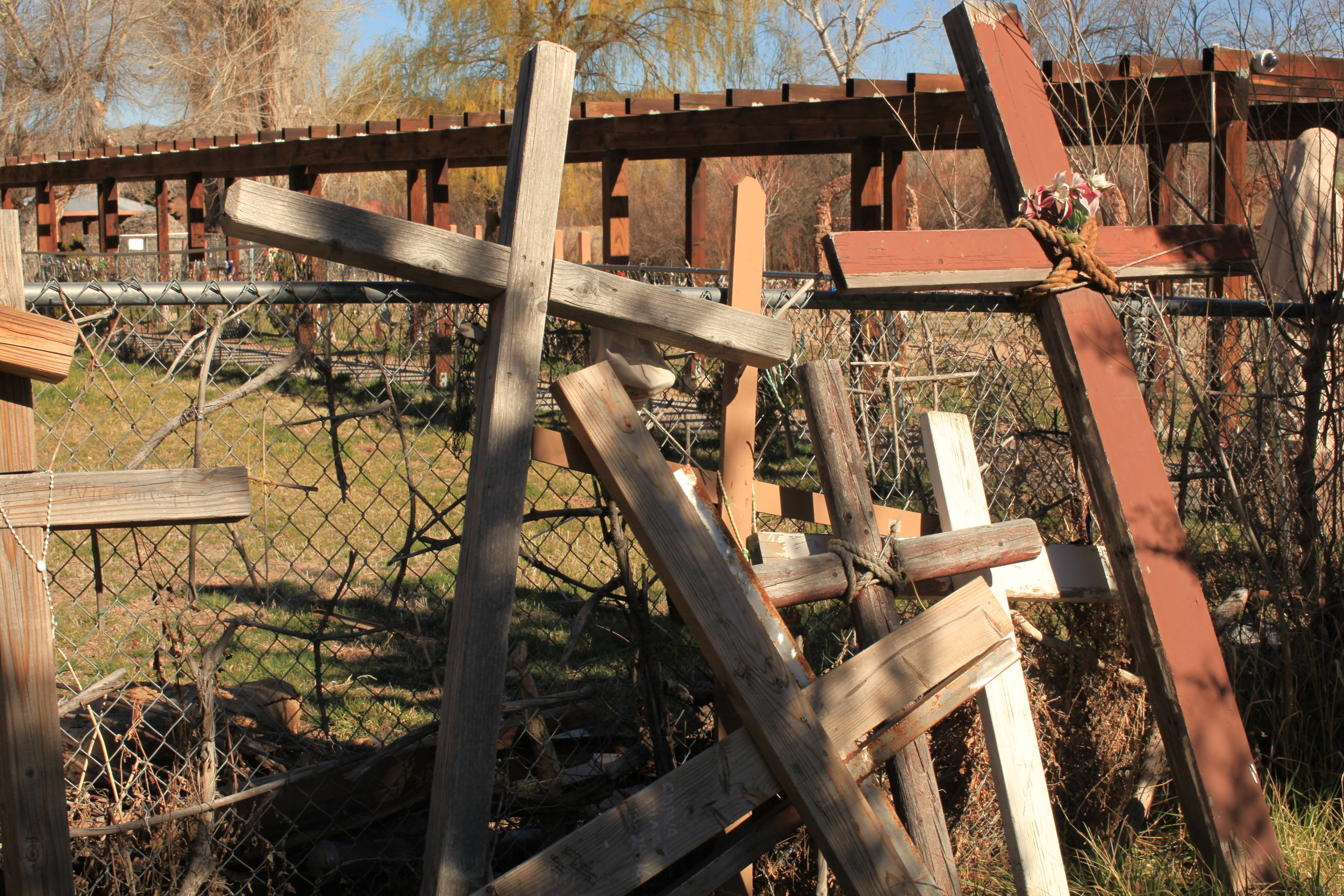 Crosses carried by pilgrims to Chimayo.
