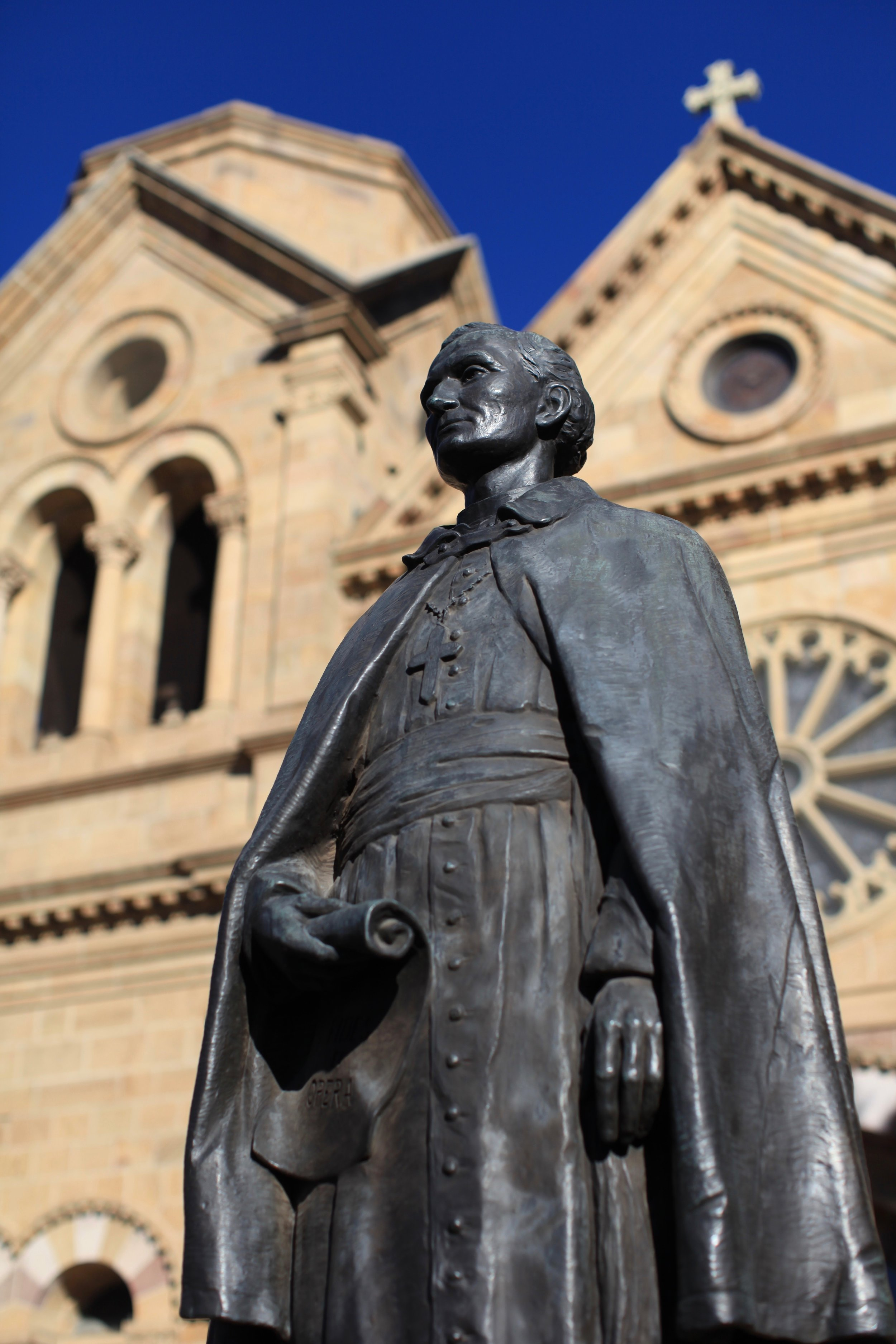 The statue of Jean-Baptiste Lamy - on whom Willa Cather based Bishop Latour - in front of his Cathedral in Santa Fe.