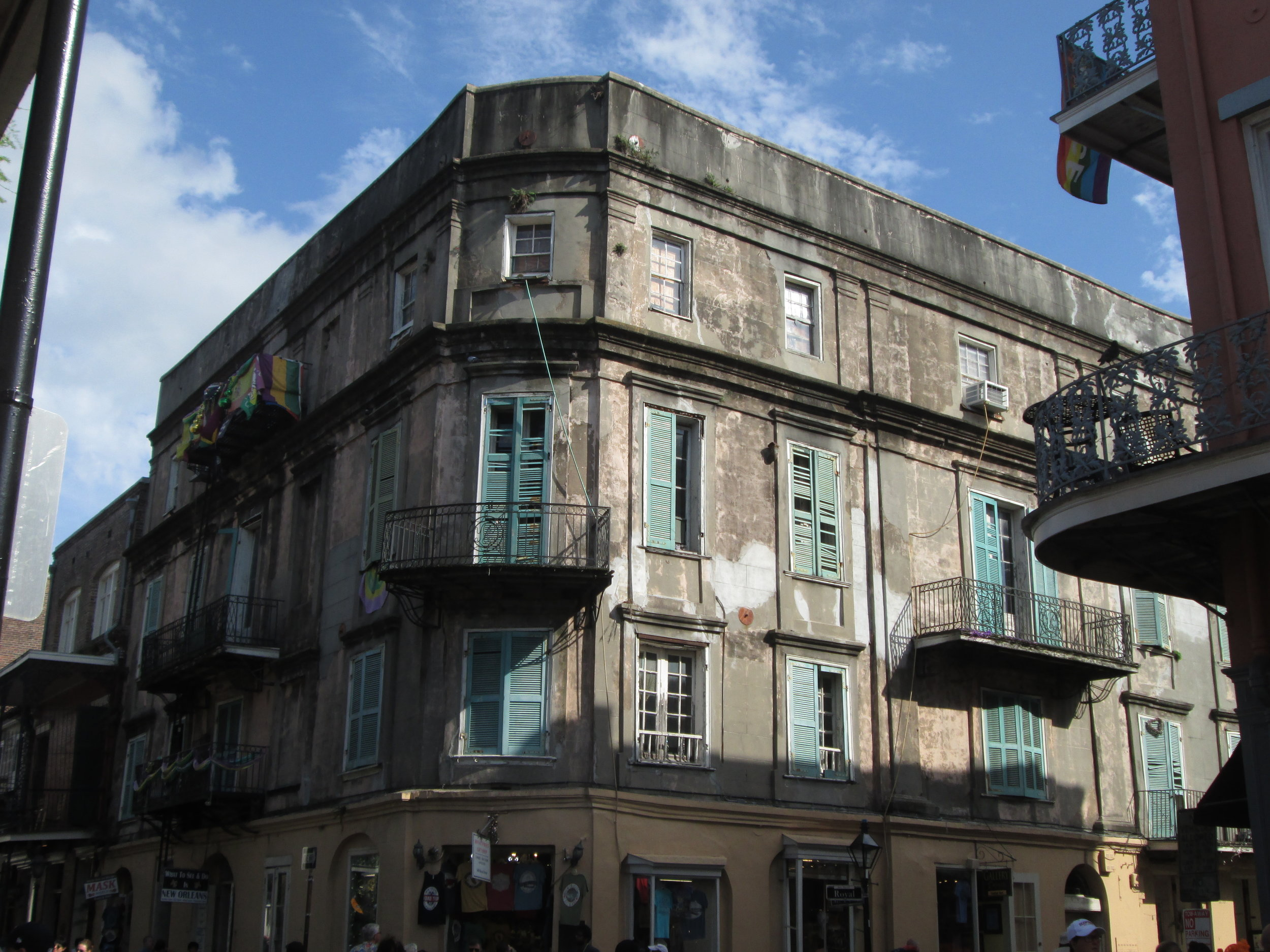 This decaying mansion looms above the modern streets in the French Quarter.