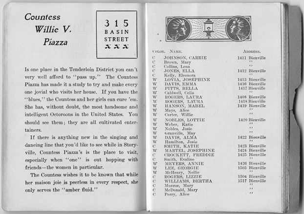 A description of Countess Piazza's brothel in a Storyville blue book  (from knowlouisiana.org courtesy of The Historic New Orleans Collection)