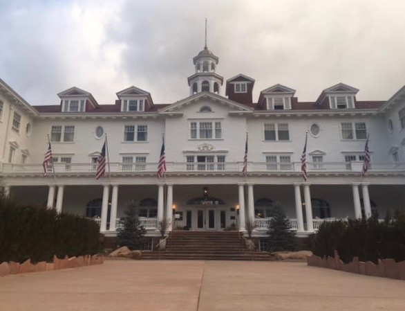 The front of the Stanley Hotel, Estes Park.