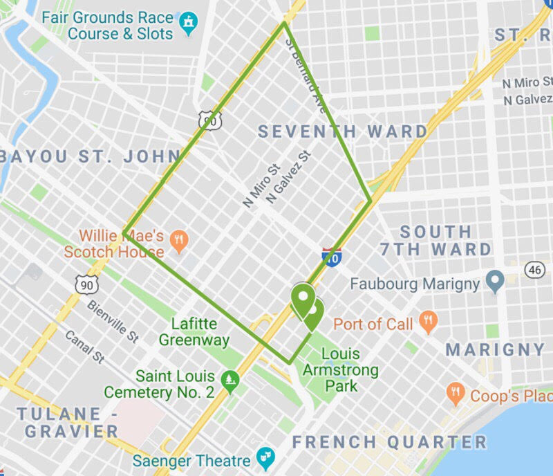 Route for the Second Line Parade - Sunday, May 26th - A little south of this route is the corner of Iberville and Marais— where Bolden performed.