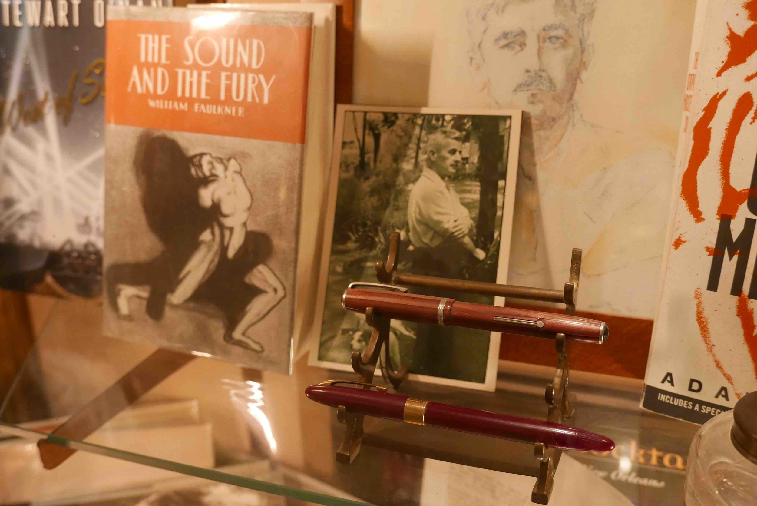 Faulkner's shrine in the lobby of the Hotel Monteleone