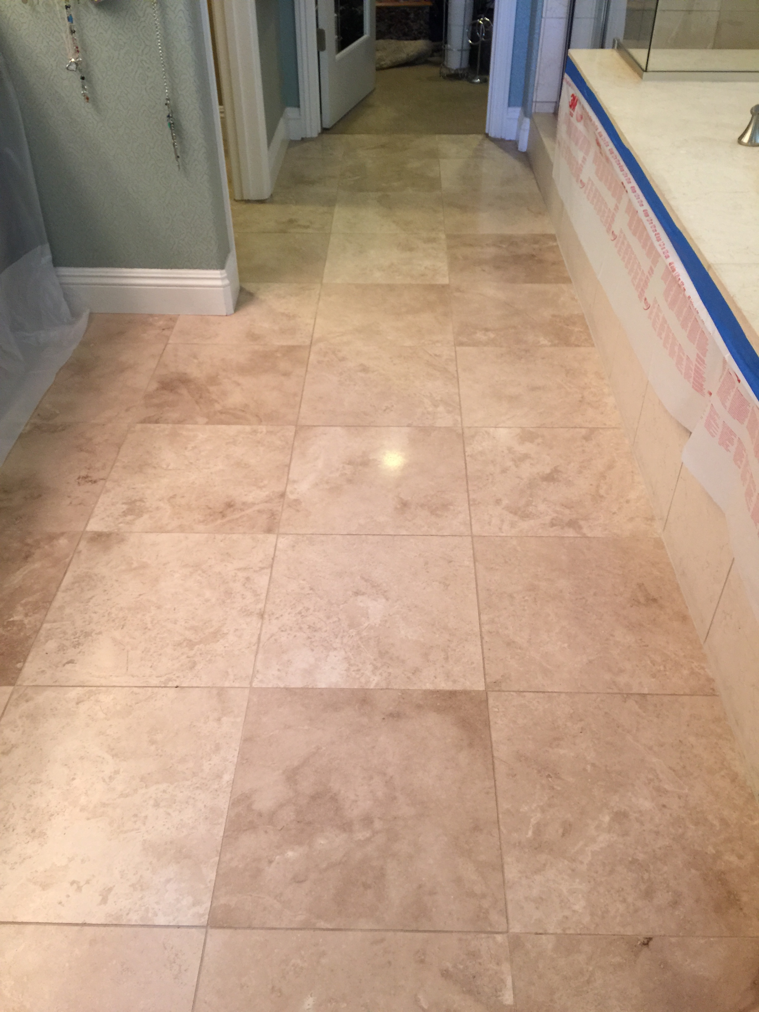 Travertine floor before coating...