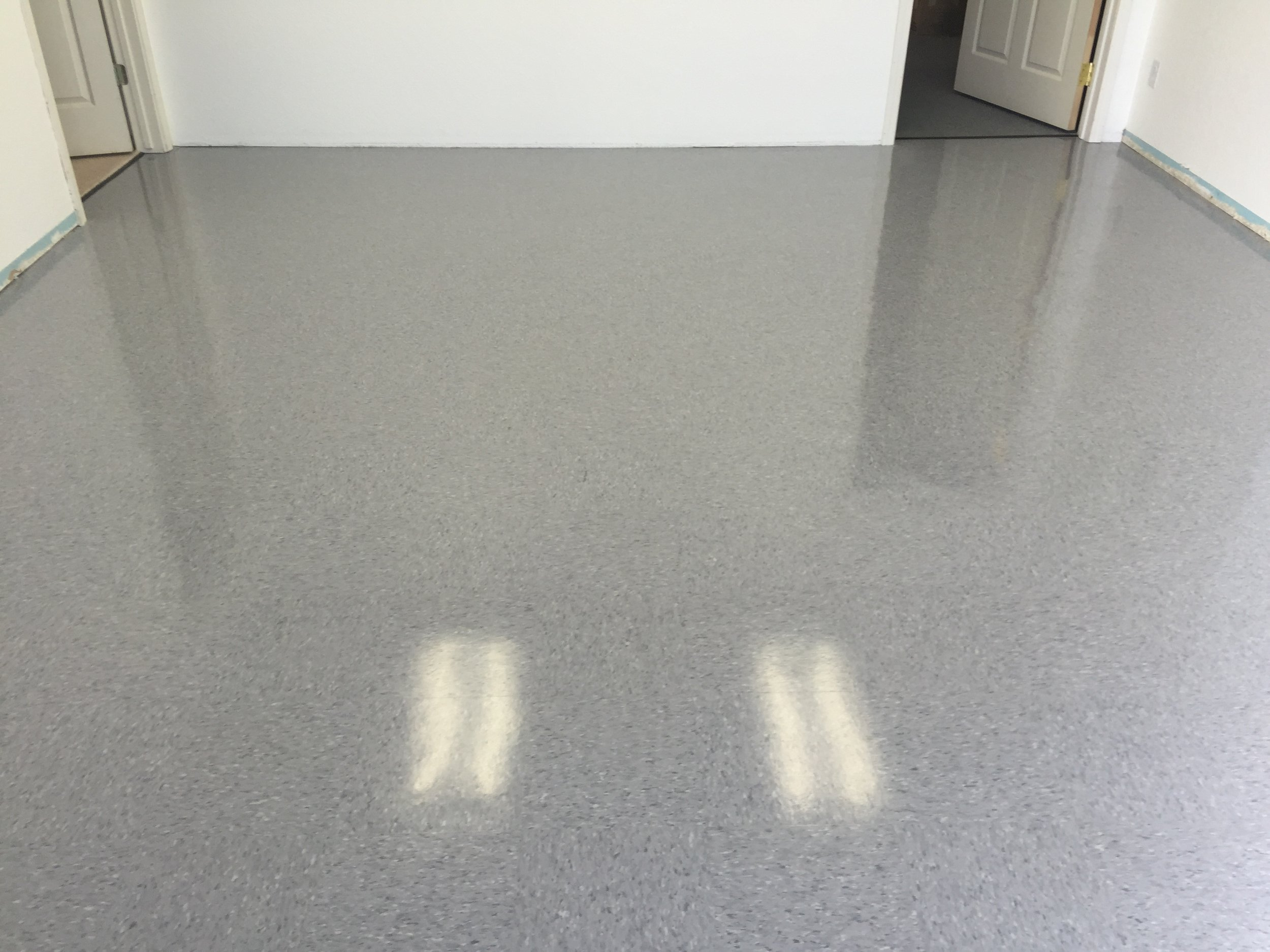 Floor coated and will never have to be burnished or re-waxed again. Coating lasts 5 years or more, before possible touch up is needed.