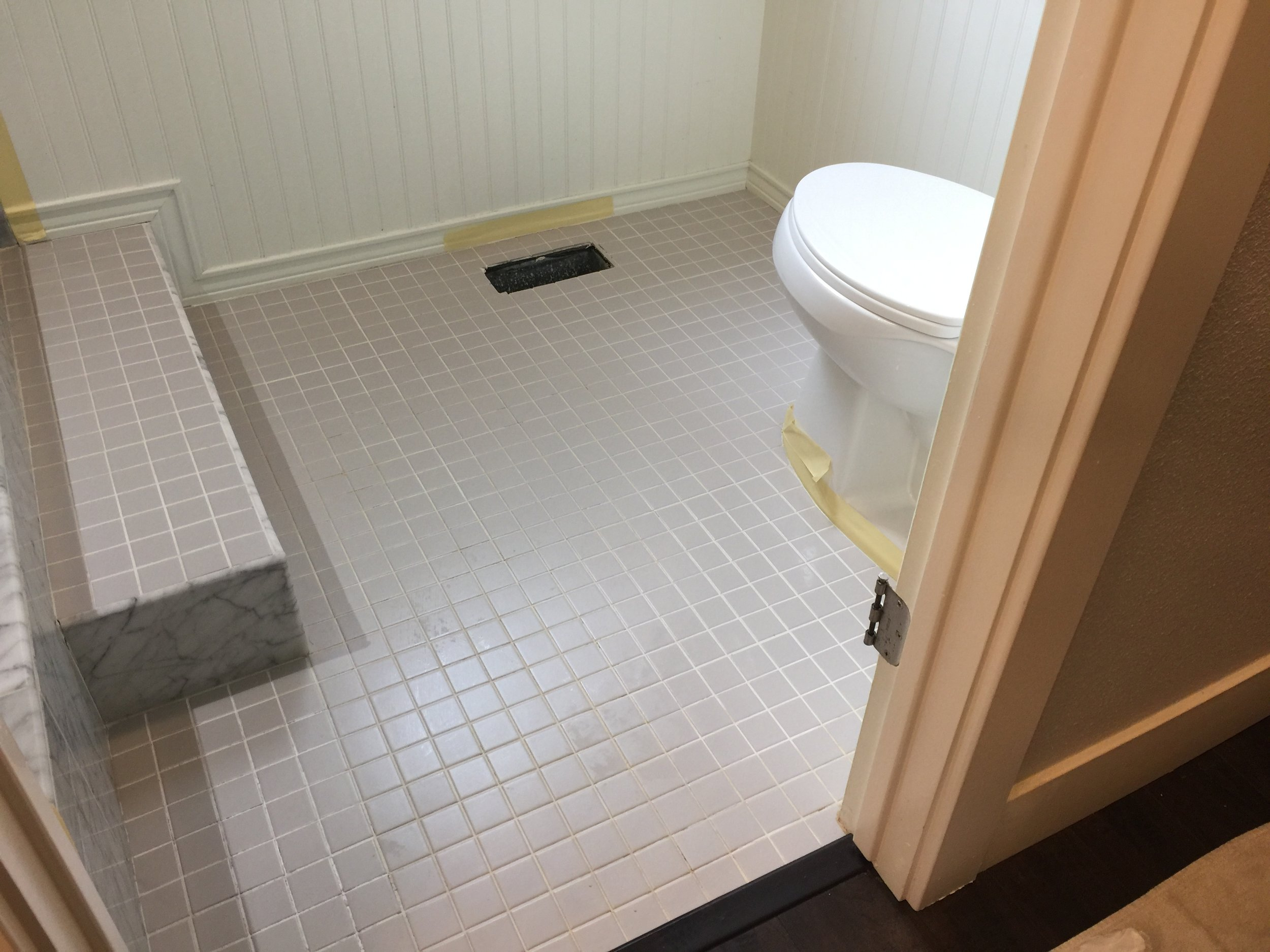 Master bath floor Before...