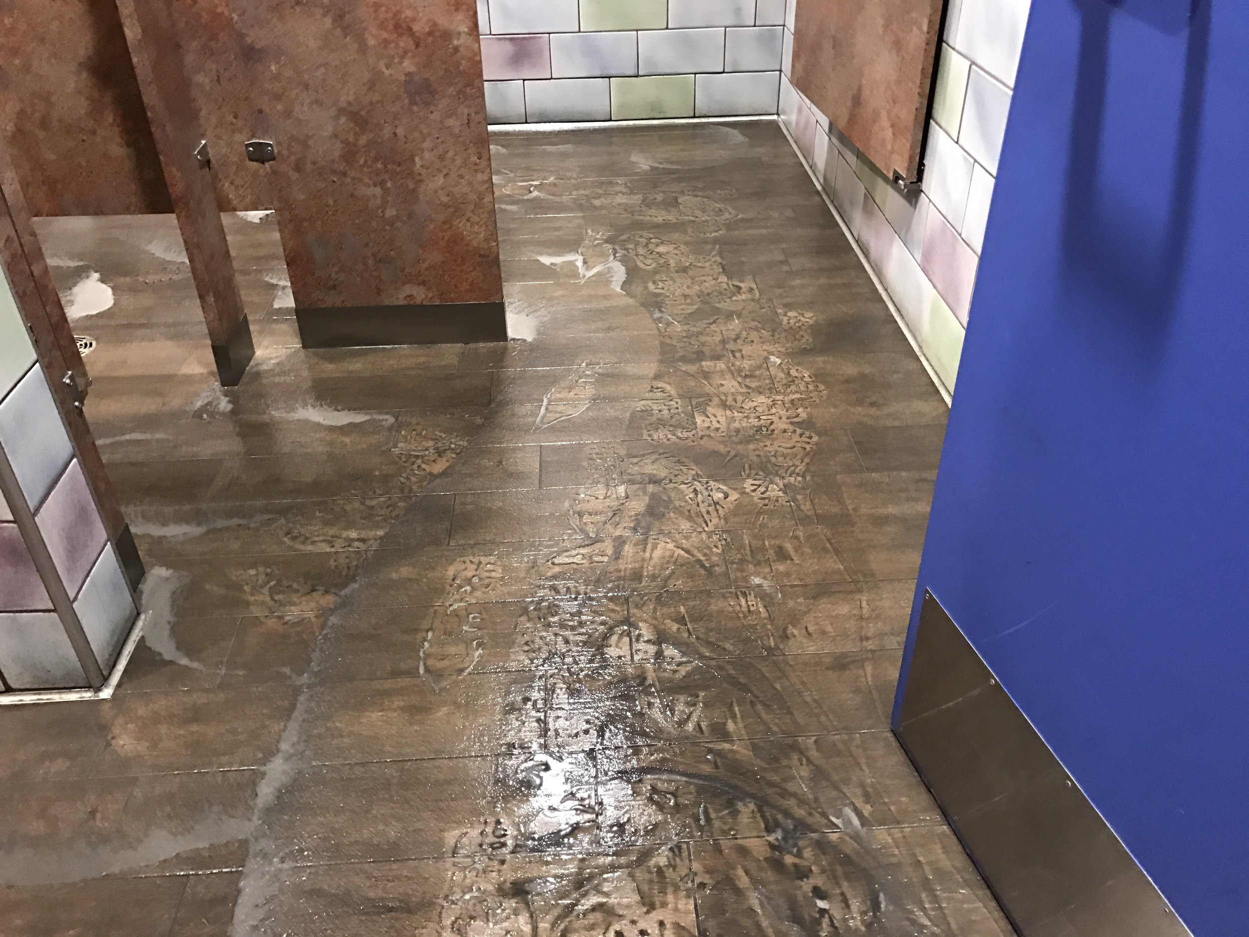 Solution applied and floor scrubbed.