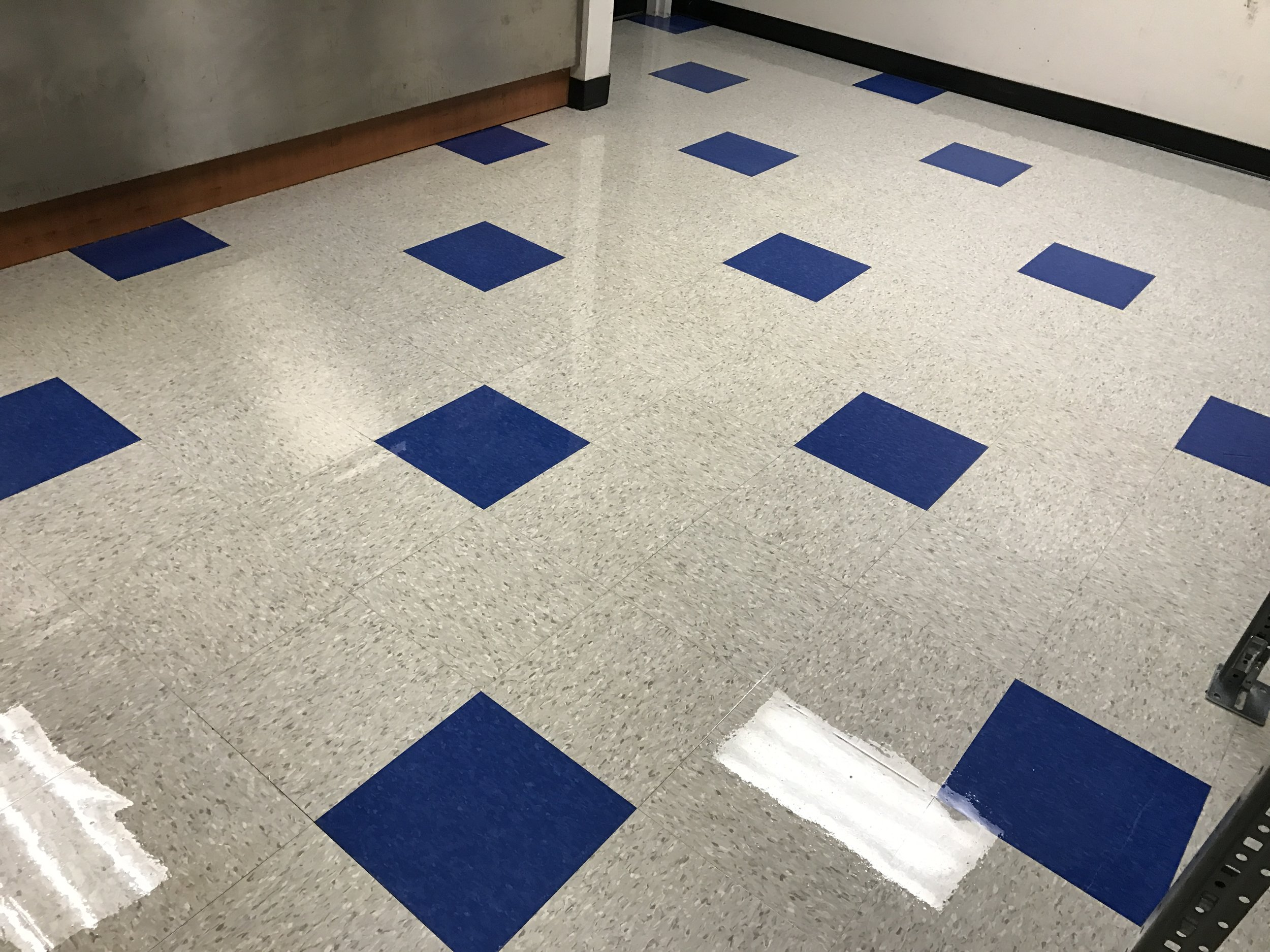 VCT Floor Cleaned and Coated.