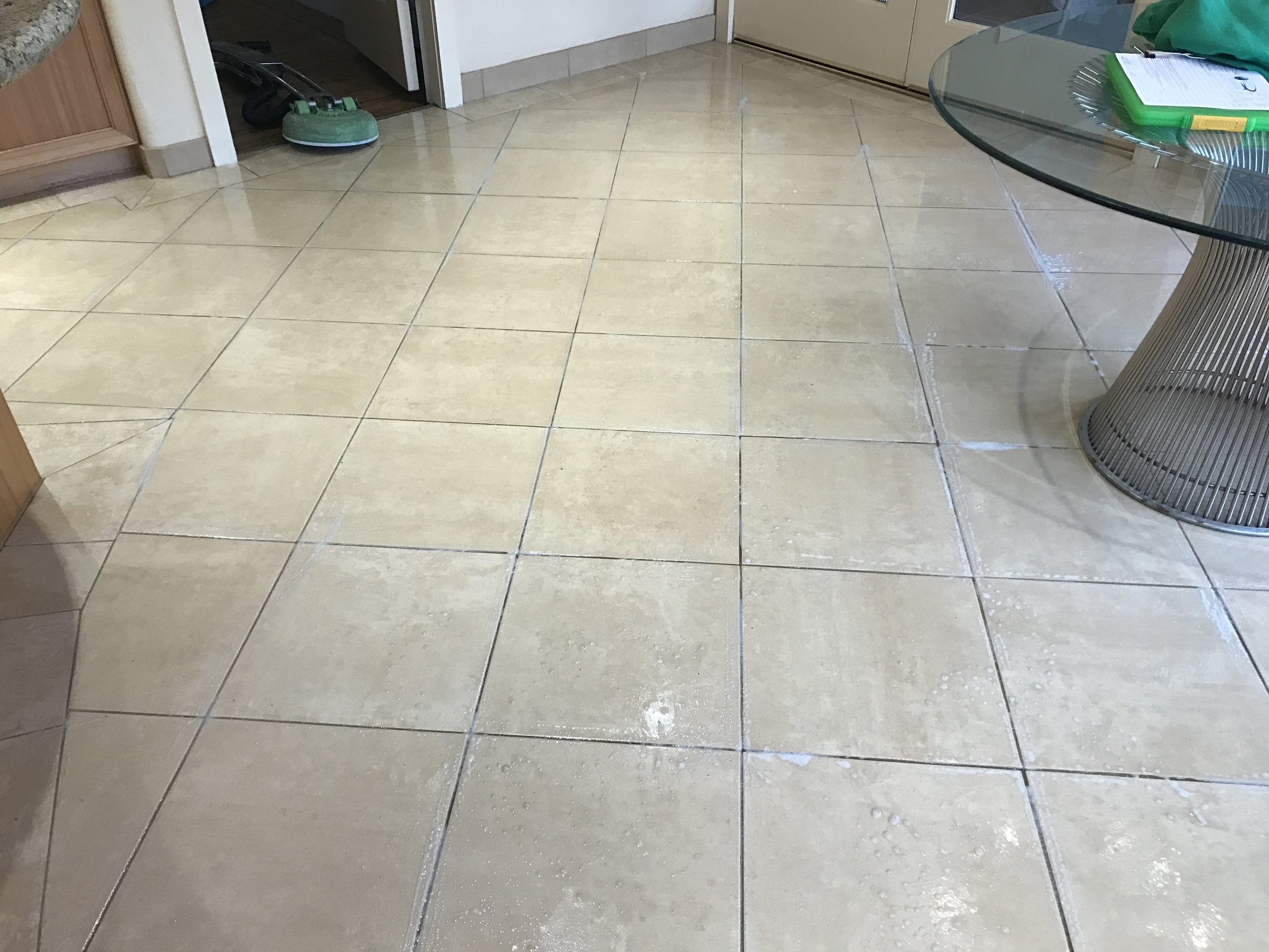 Kitchen floor Tile and Grout Cleaning BEFORE...