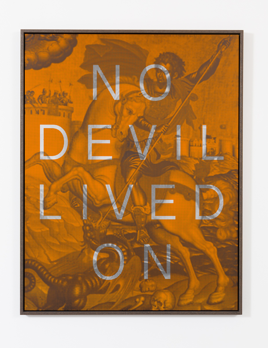AGOM-0002 - Agostinelli, NO DEVIL LIVED ON (St George & the dragon), Matte ink on acrylic mirror, Ed 1:8, 155 x 120 cm, 2014:15.jpg